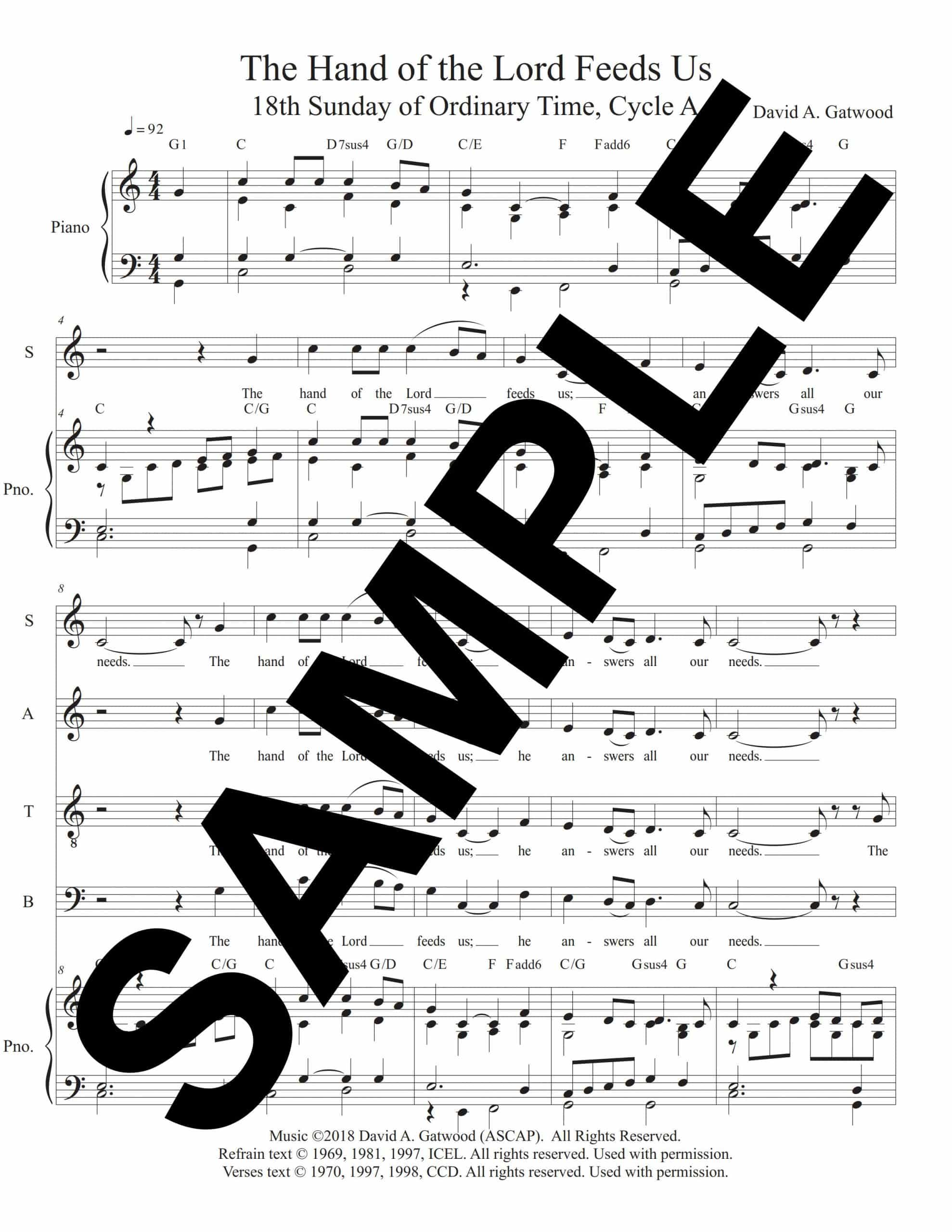 The Hand of the Lord Feeds Us Psalm 145 18A Sample Choral Octavo scaled
