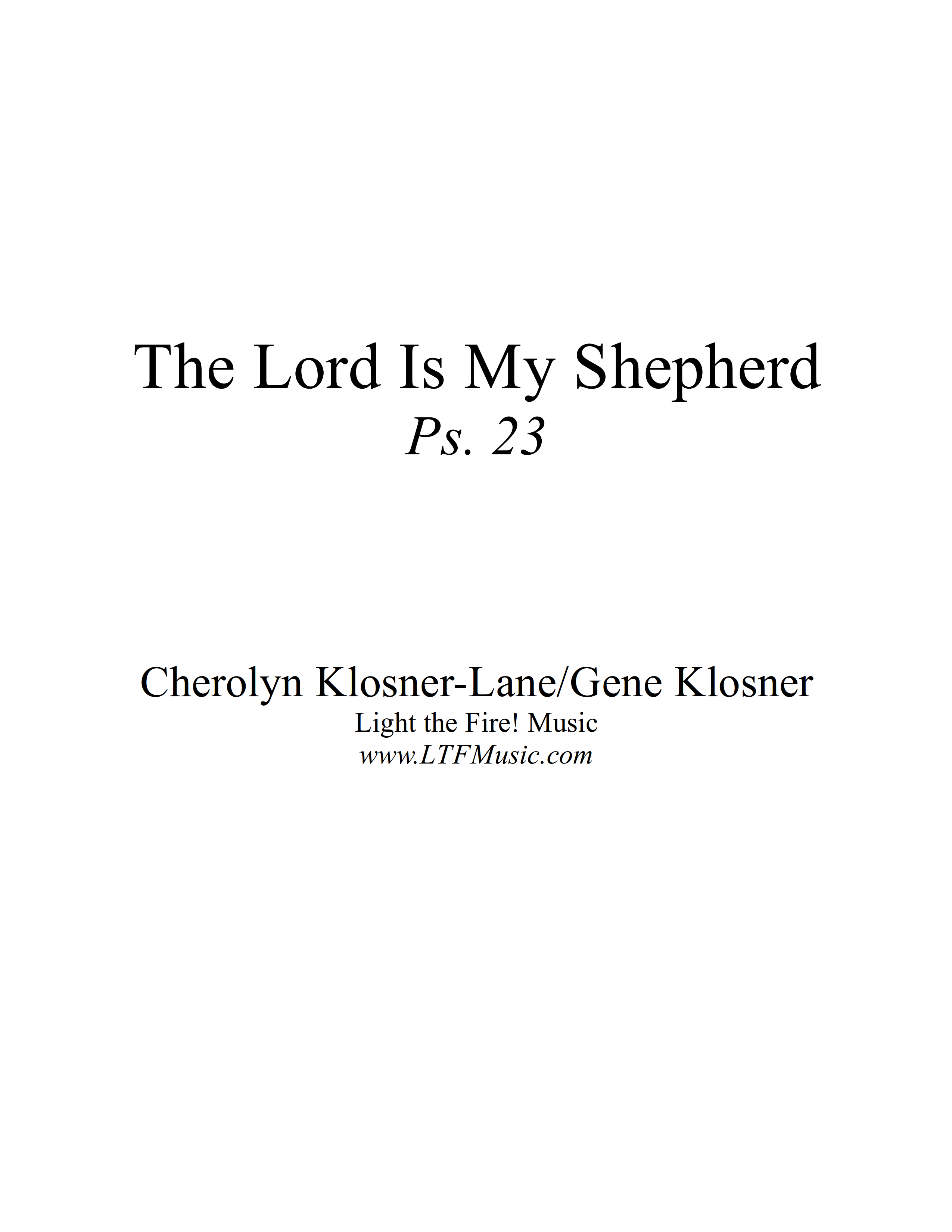 Psalm 23 The Lord Is My Shepherd Klosner CompletePDF 01 png