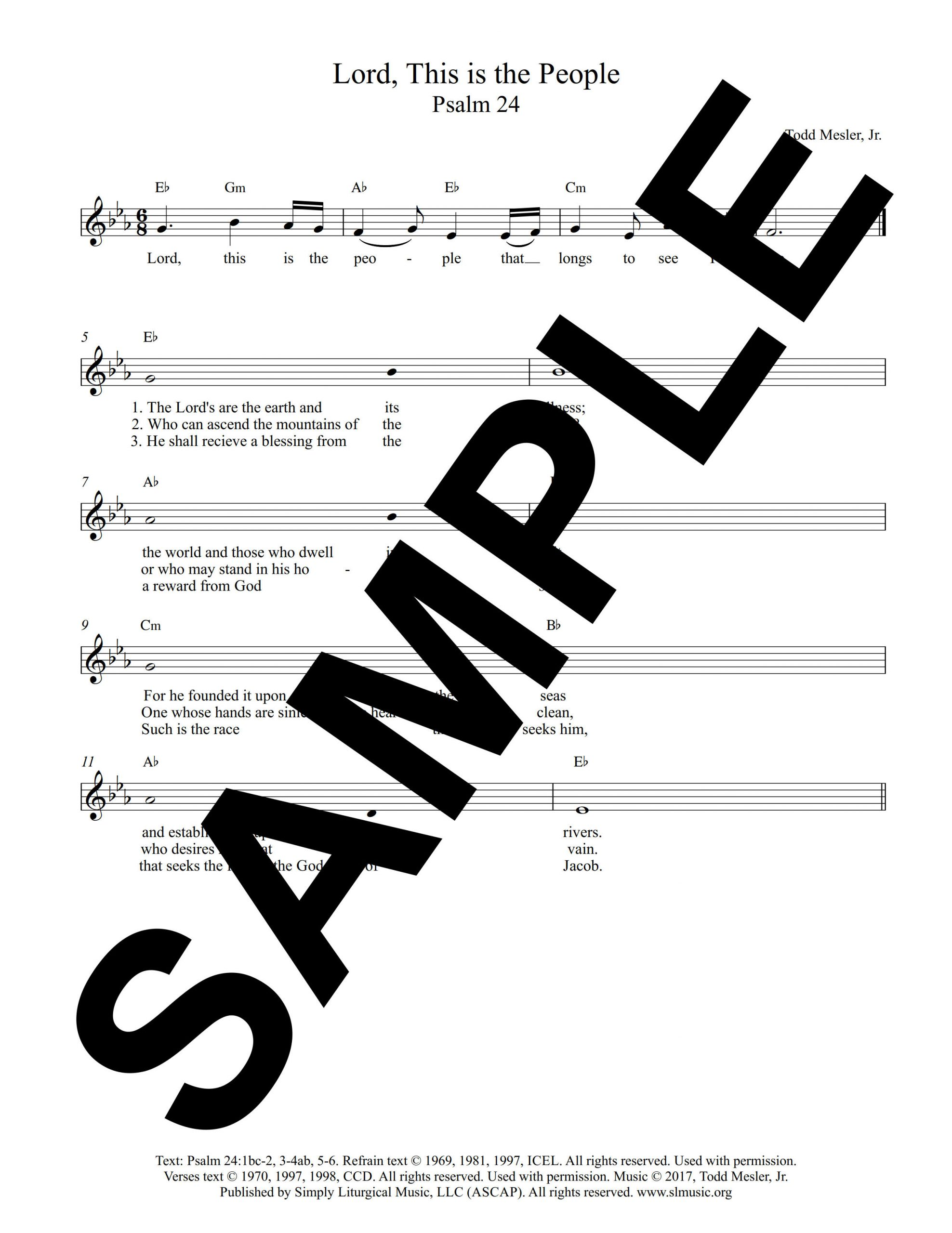 Psalm 24 All Saints Mesler Sample Lead Sheet scaled