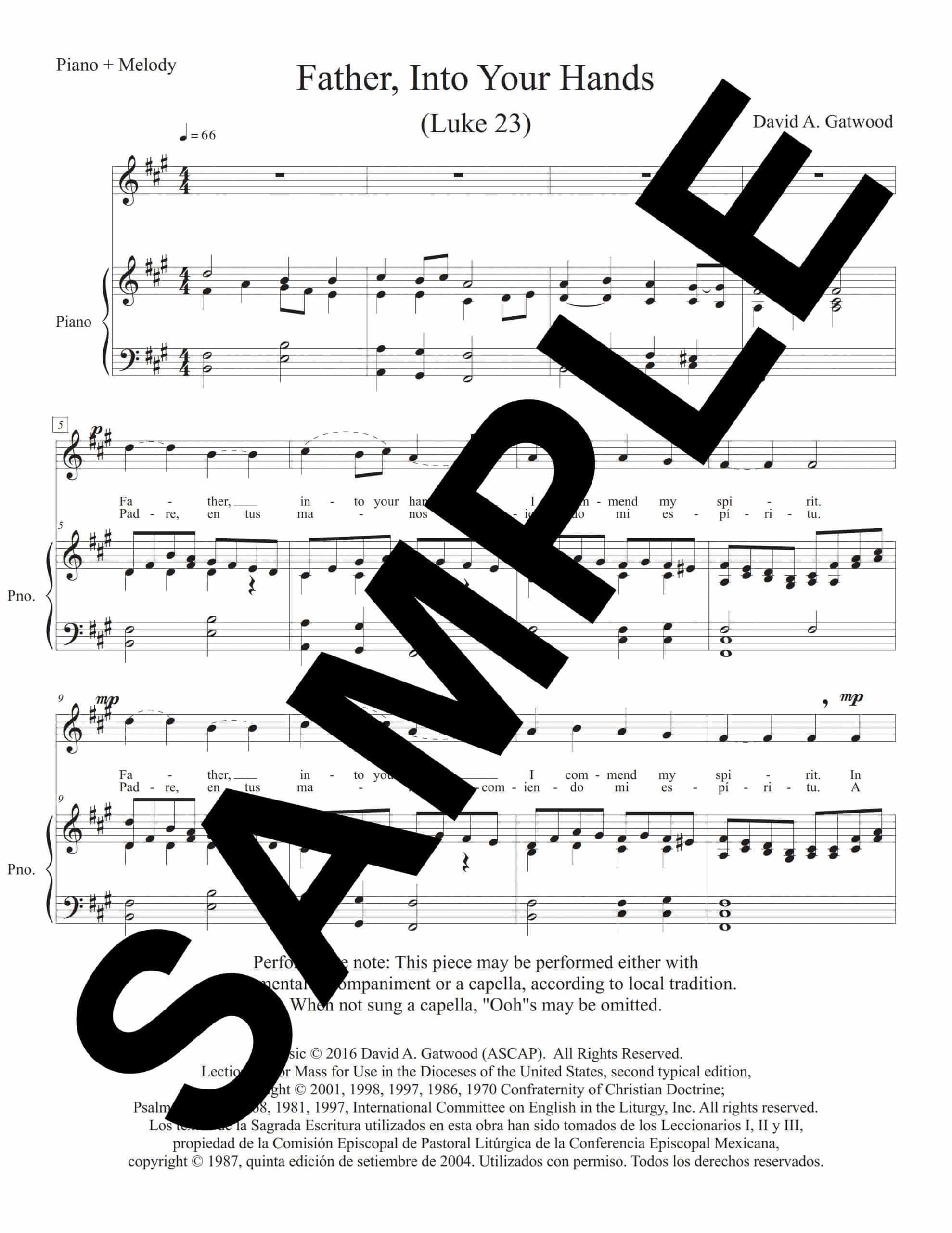 Father Into Your Hands Luke 23 Sample Piano Melody scaled