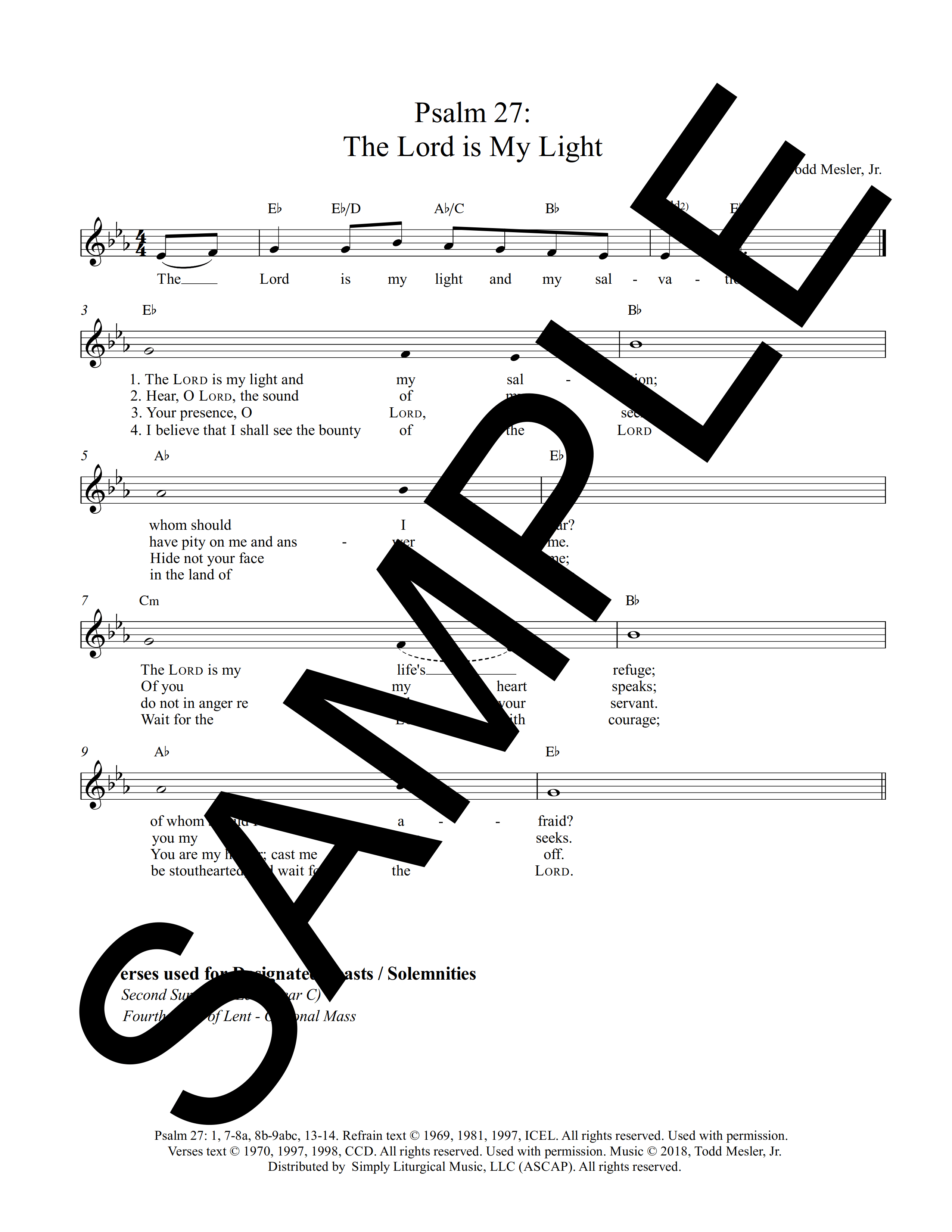 Psalm 27 The Lord is My Light Mesler Sample Lead Sheet 1 png