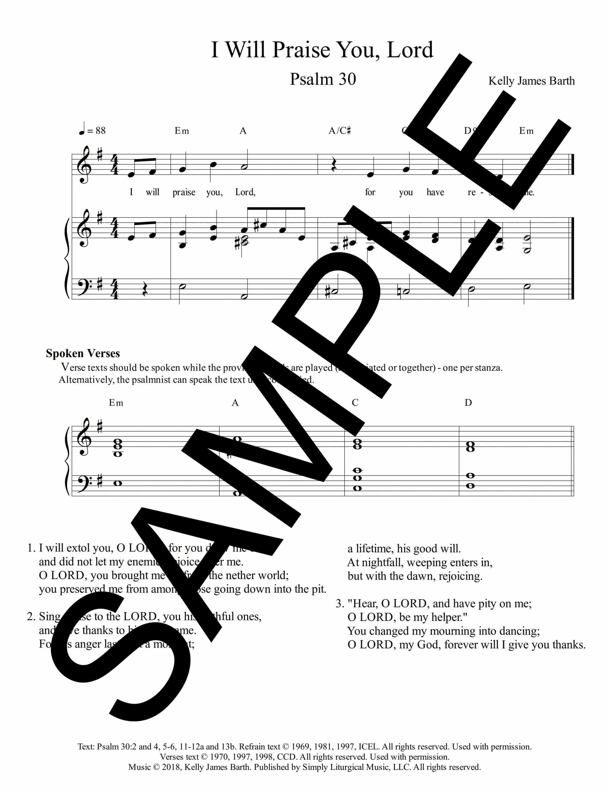 Psalm 30 I Will Praise You Lord Barth Sample Sheet Music scaled