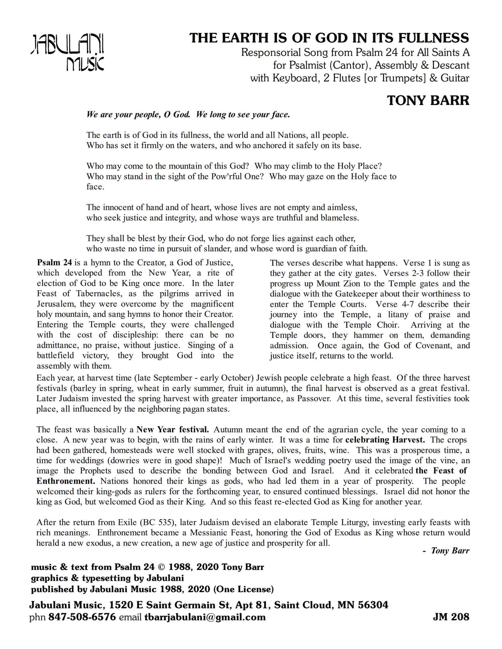 All Saints Ps 24 The Earth Is Of God In Its Fullness jm 208 Sample Complete PDF 1 png