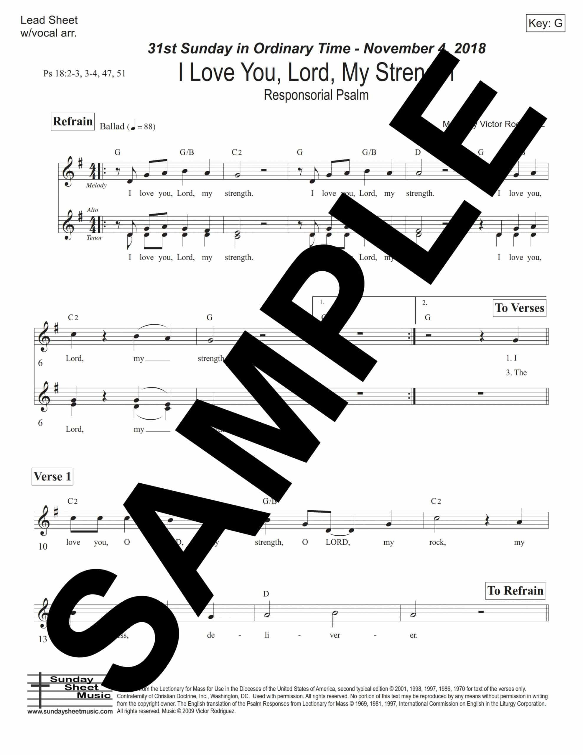 31st Sunday I Love You Lord My Strength Ps 18 Sample Lead Sheet scaled