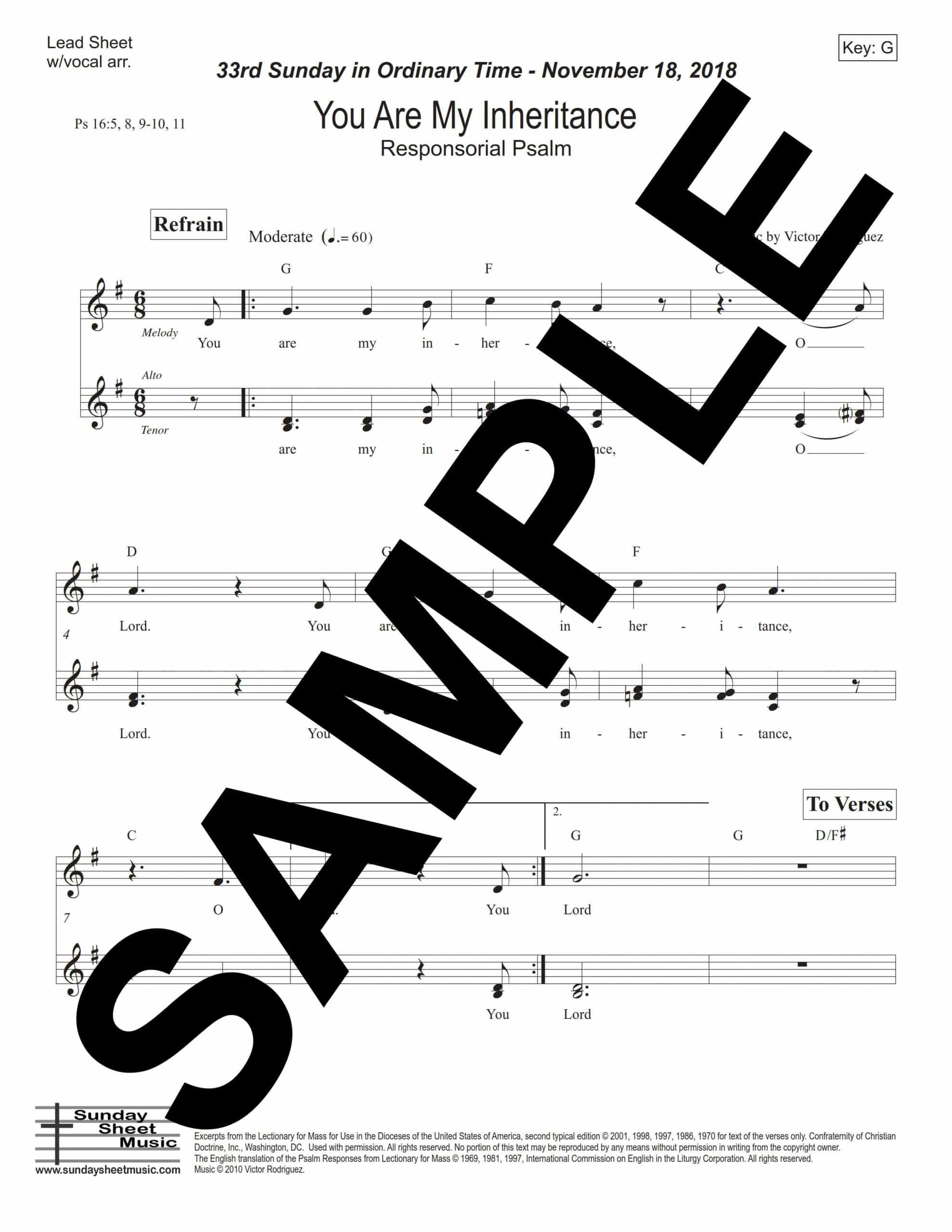 33rd Sunday You Are My Inheritance Ps 16 Sample Lead Sheet scaled