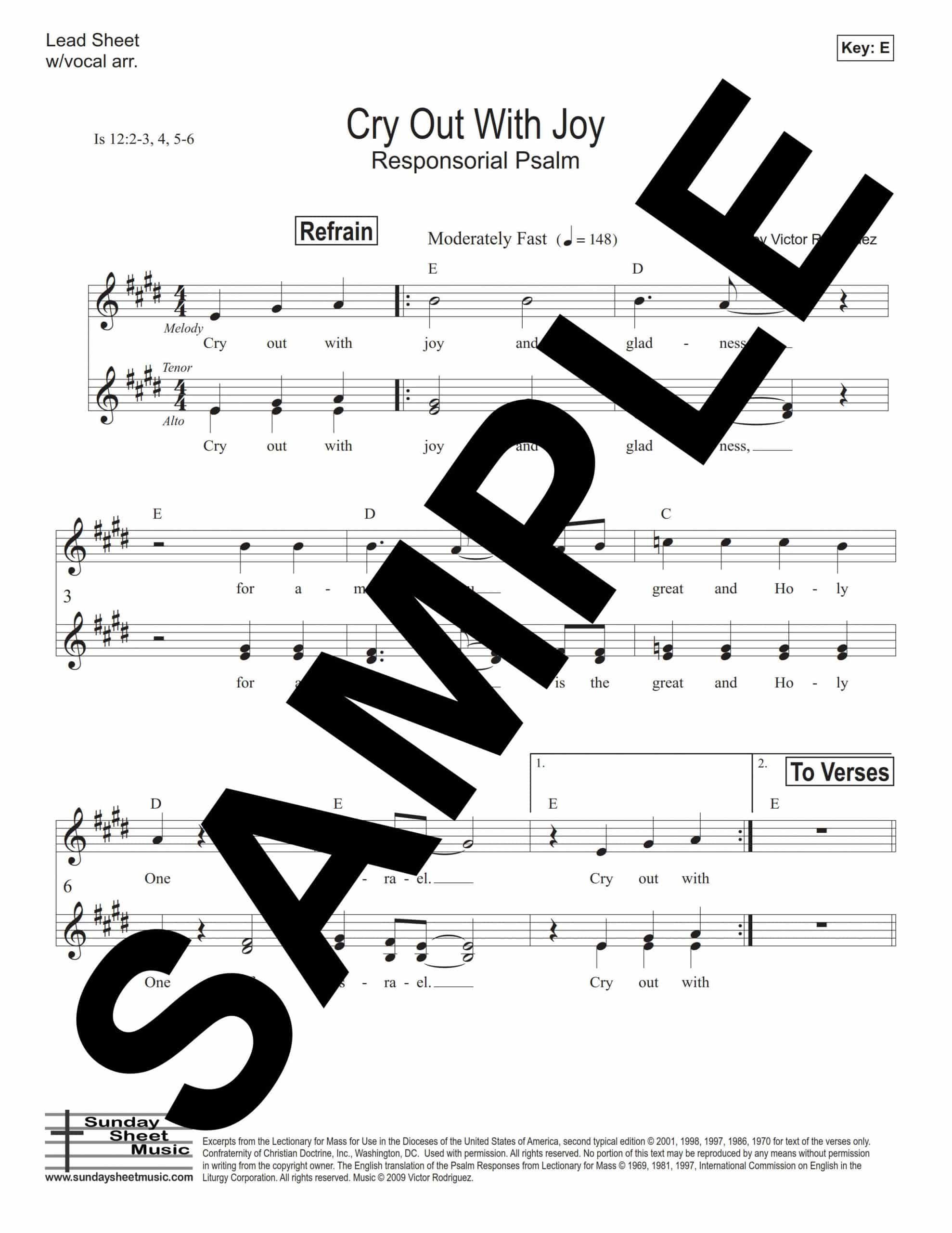 Isaiah 12 Cry Out With Joy Rodriguez Sample Lead Sheet scaled