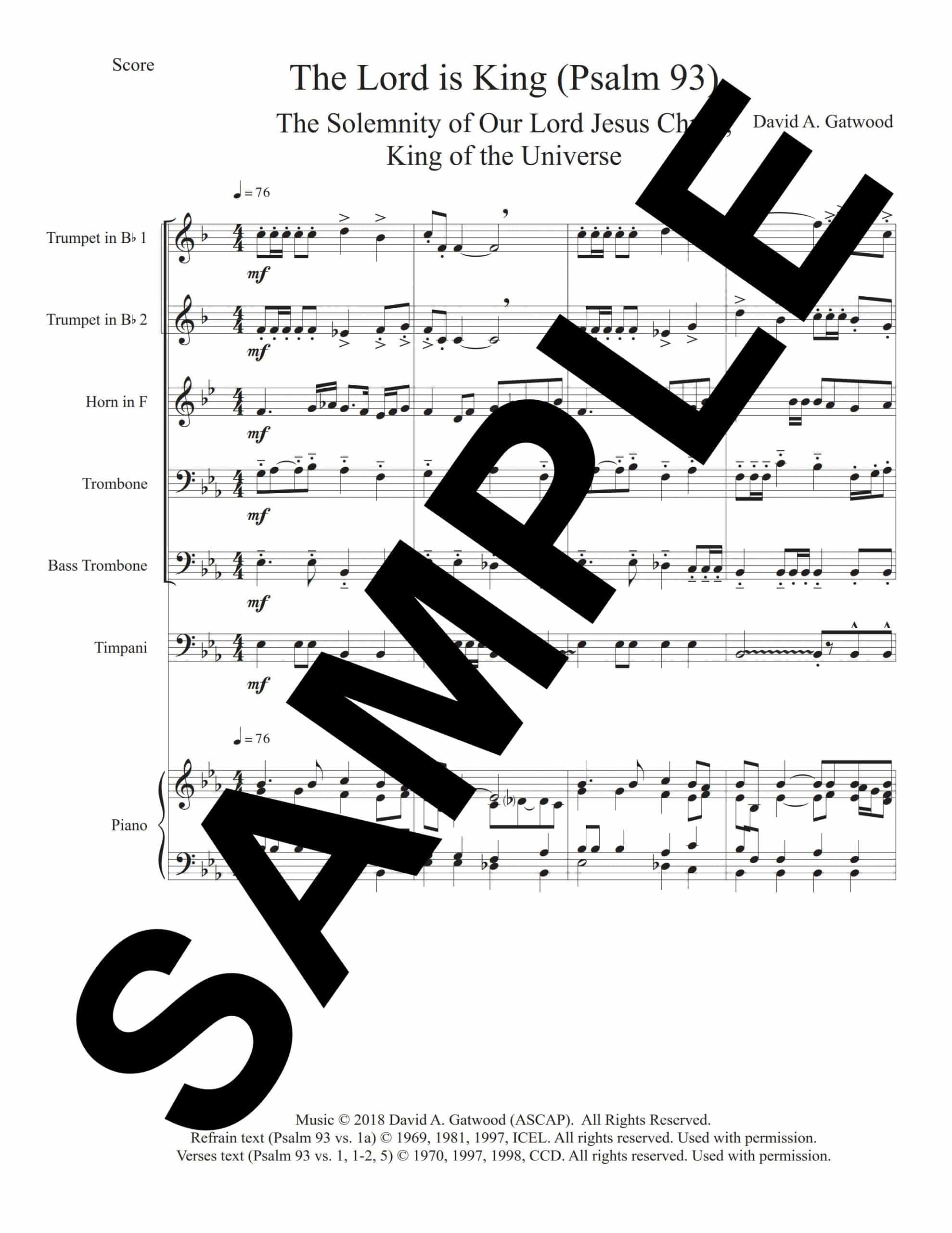 The Lord Is King Psalm 93 Sample Score scaled