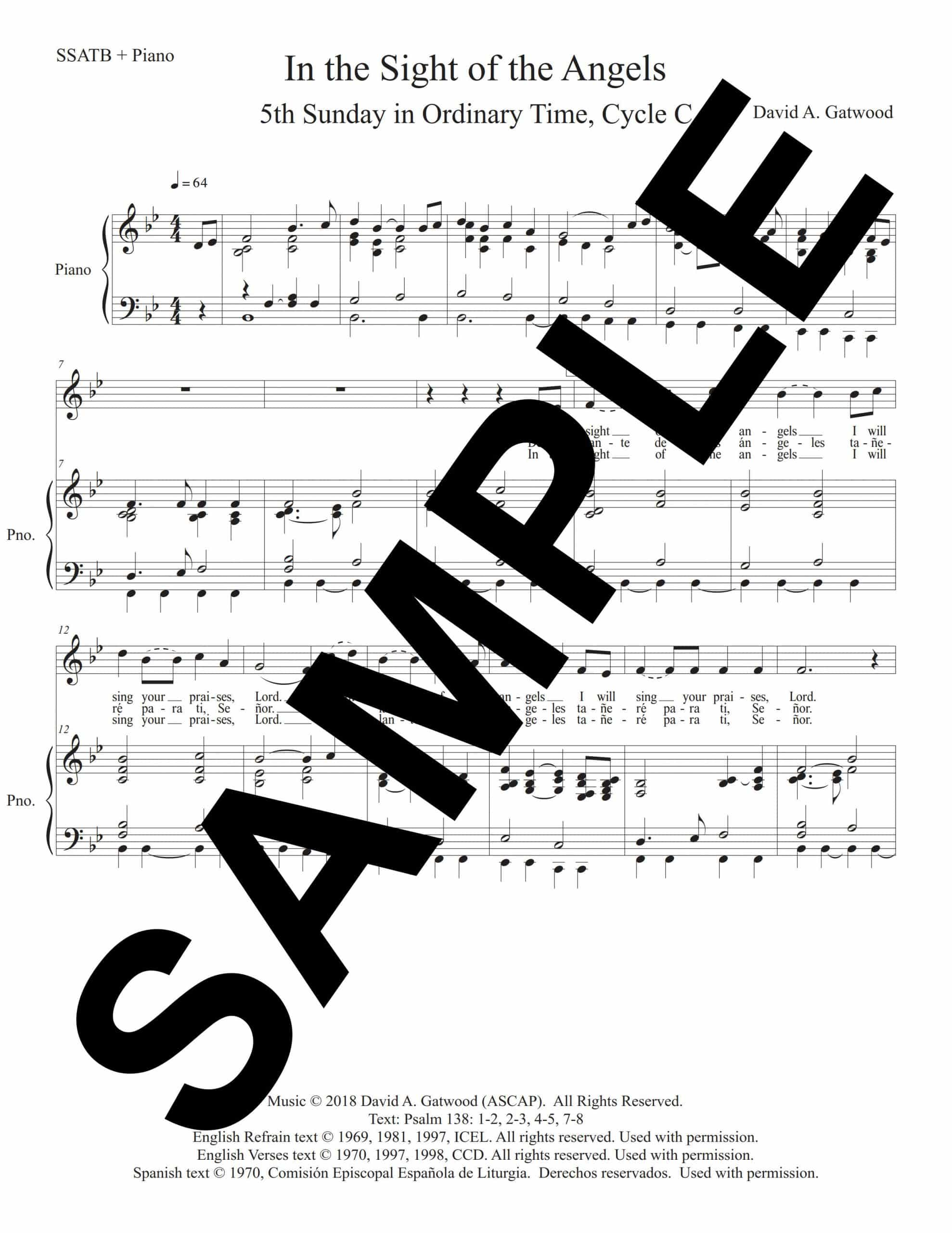 In the Sight of the Angels Psalm 138 Sample SSATB Piano scaled