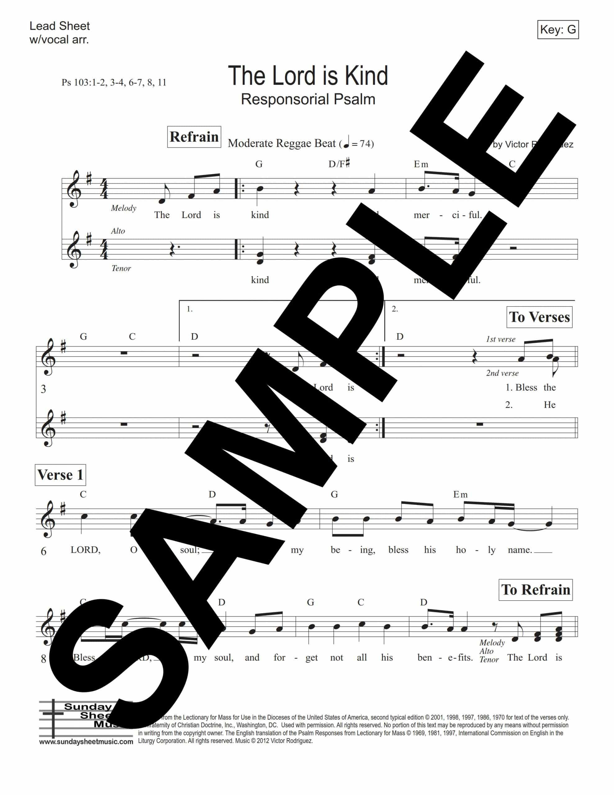 Psalm 103 The Lord Is Kind Rodriguez Sample Lead Sheet 1 scaled