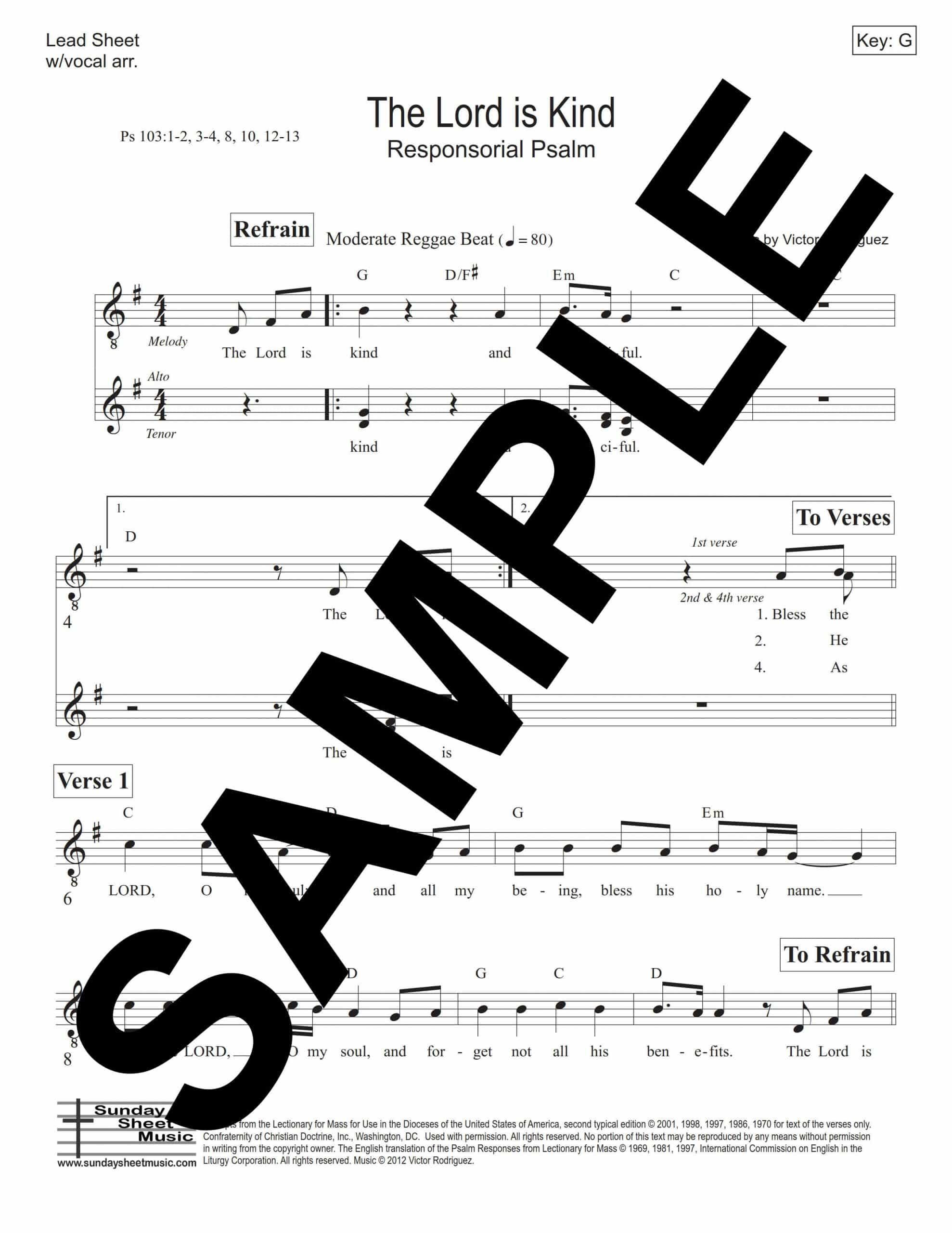 Psalm 103 The Lord Is Kind Rodriguez Sample Lead Sheet scaled