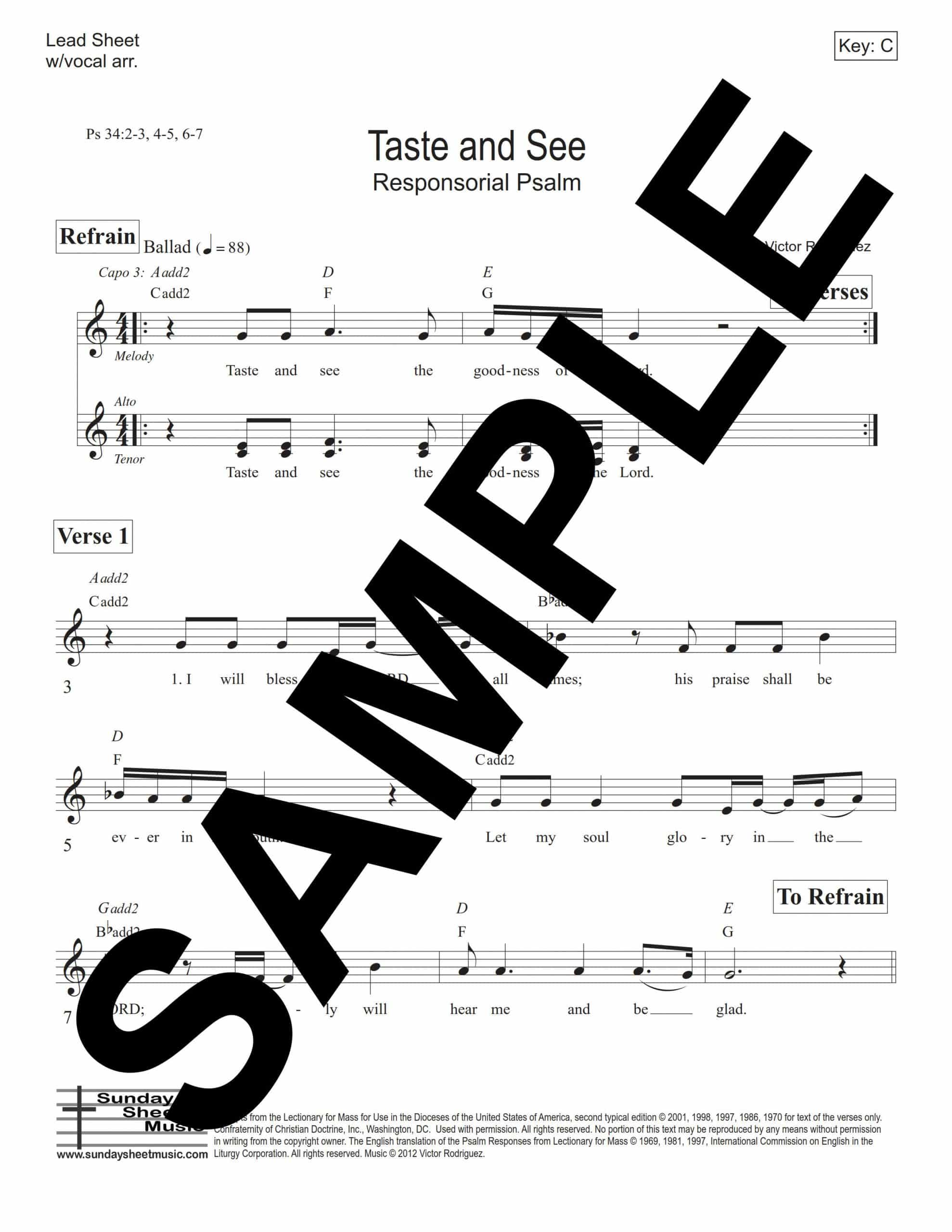 Psalm 34 Taste And See Rodriguez Sample Lead Sheet scaled