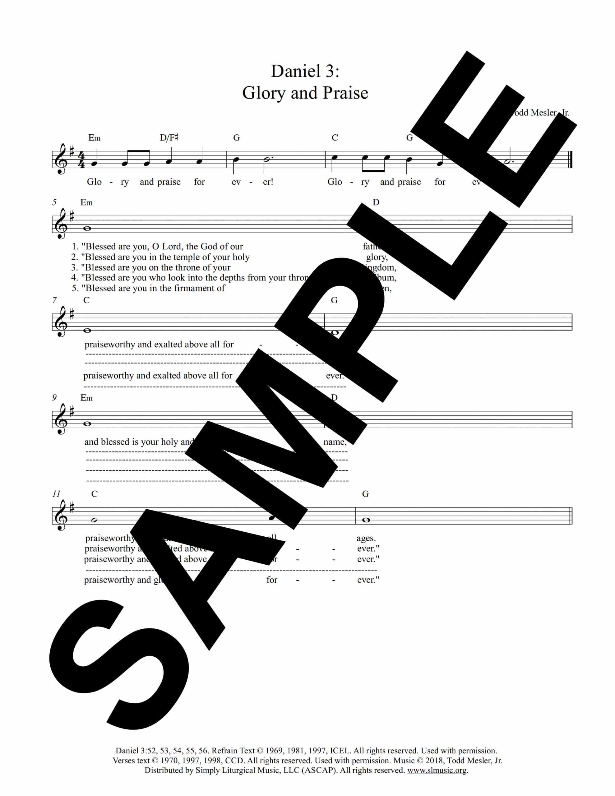 Daniel 3 Glory and Praise Mesler Sample Lead Sheet scaled