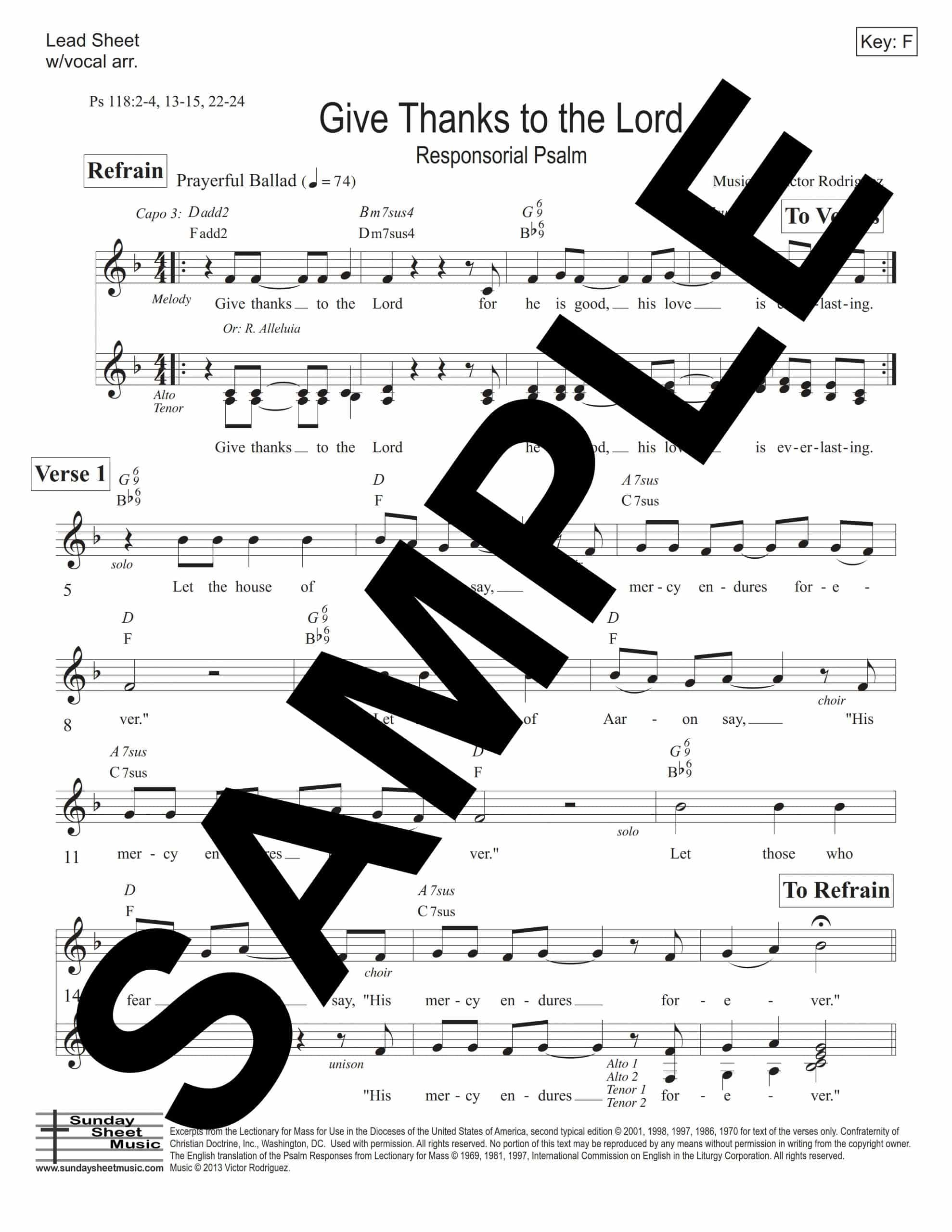 Psalm 118 Give Thanks to the Lord Rodriguez Sample Lead Sheet scaled