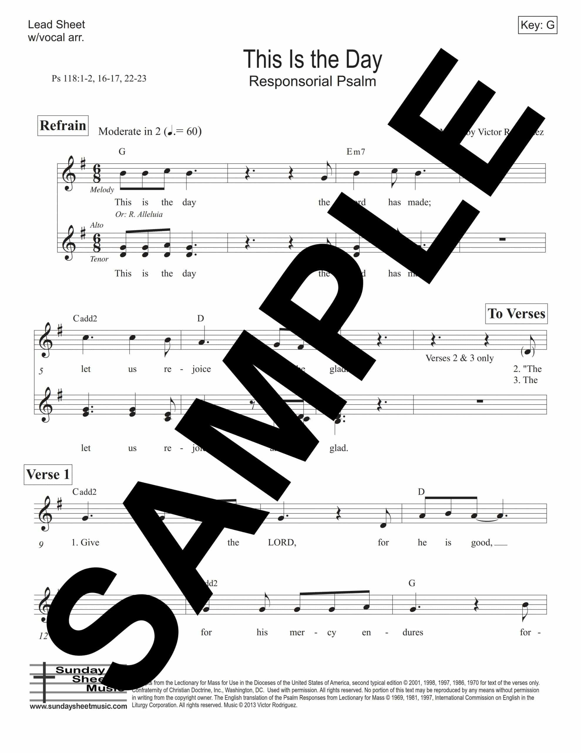 Psalm 118 This Is the Day Rodriguez Sample Lead Sheet scaled
