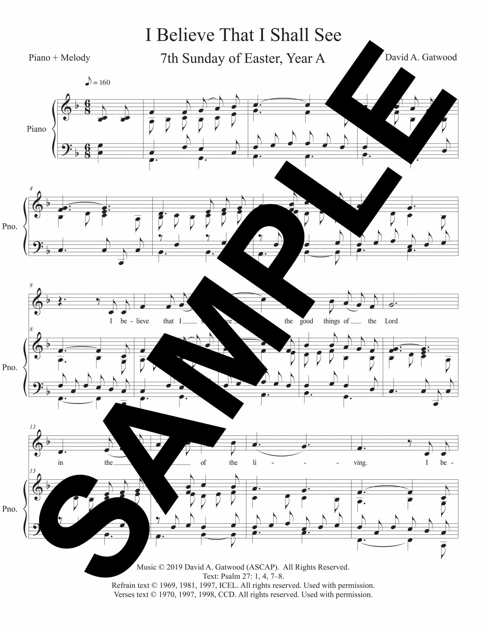 Psalm 27 I Believe That I Shall See Gatwood Sample PianoMelody scaled