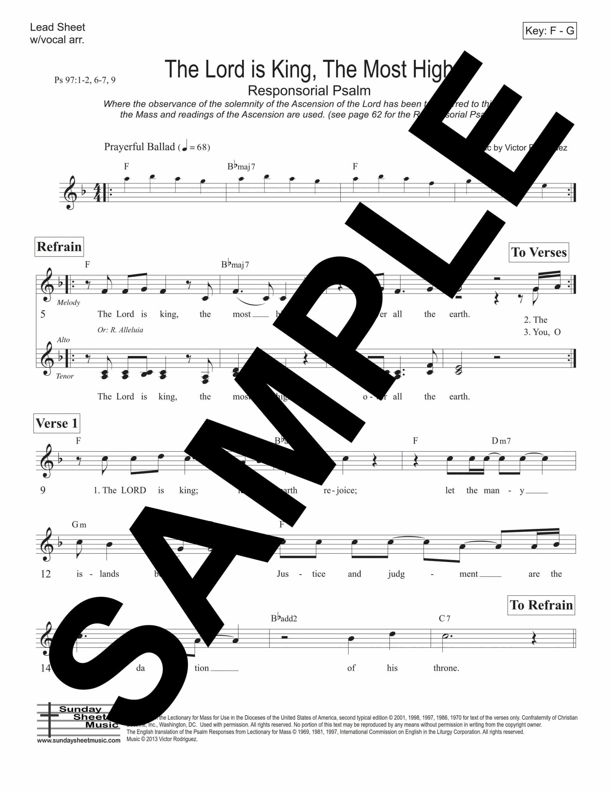 Psalm 97 The Lord Is King the Most High Rodriguez Sample Lead Sheet scaled