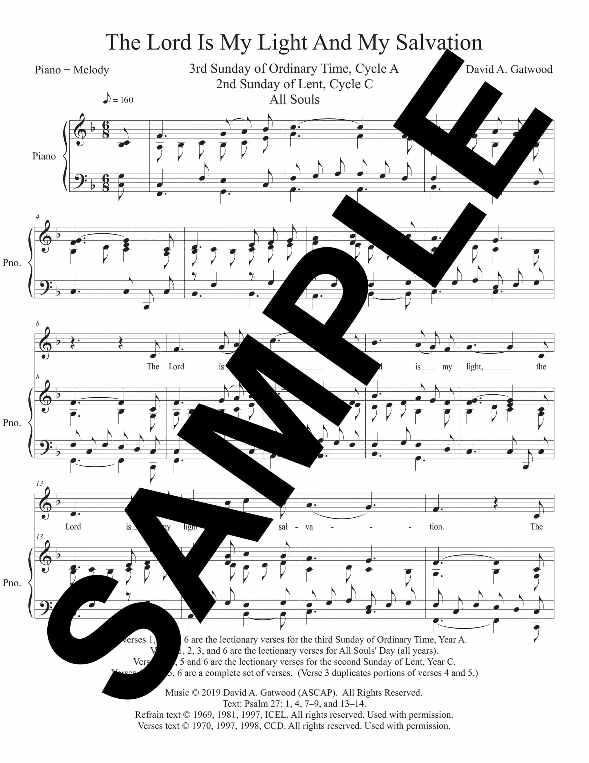 The Lord Is My Light And My Salvation Psalm 27 Sample Piano Melody scaled