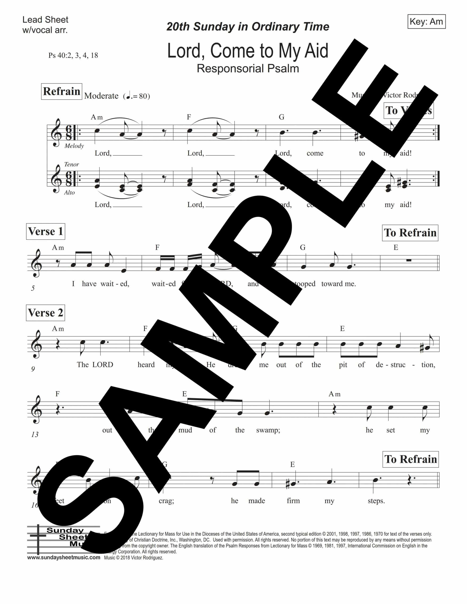 Psalm 40 Lord Come to My Aid Rodriguez Sample Lead Sheet w vocal arr scaled