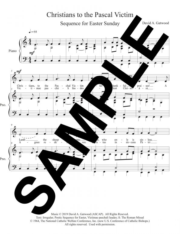 Sheet music for Christians to the Pascal Victim song