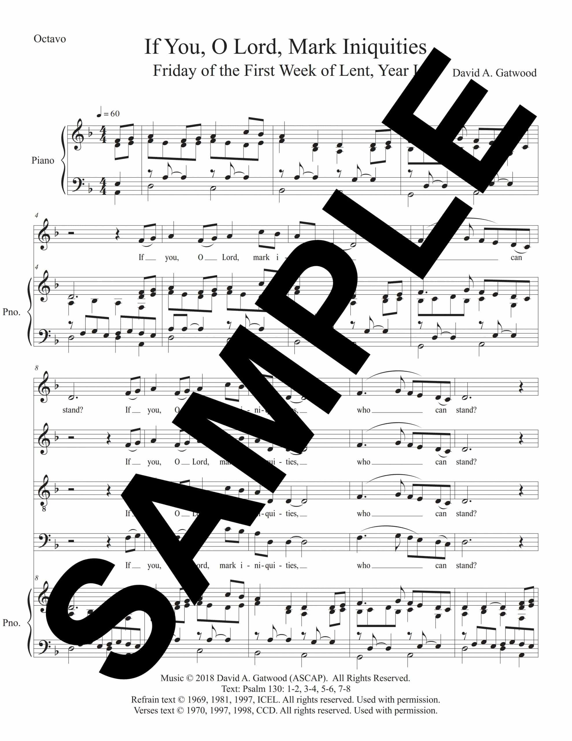 If You O Lord Mark Iniquities Psalm 130 Friday 1 Lent Year I Sample Octavo scaled