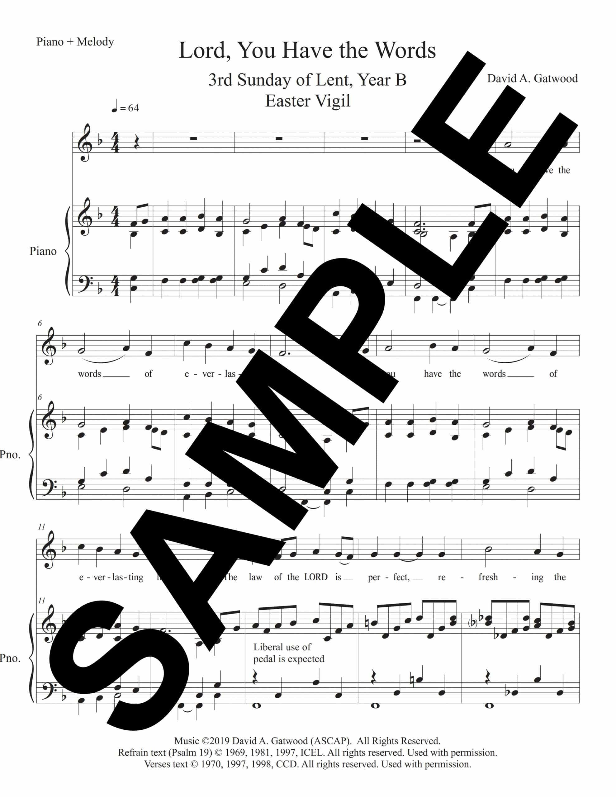 Lord You Have The Words Psalm 19 Sample Piano Melody scaled