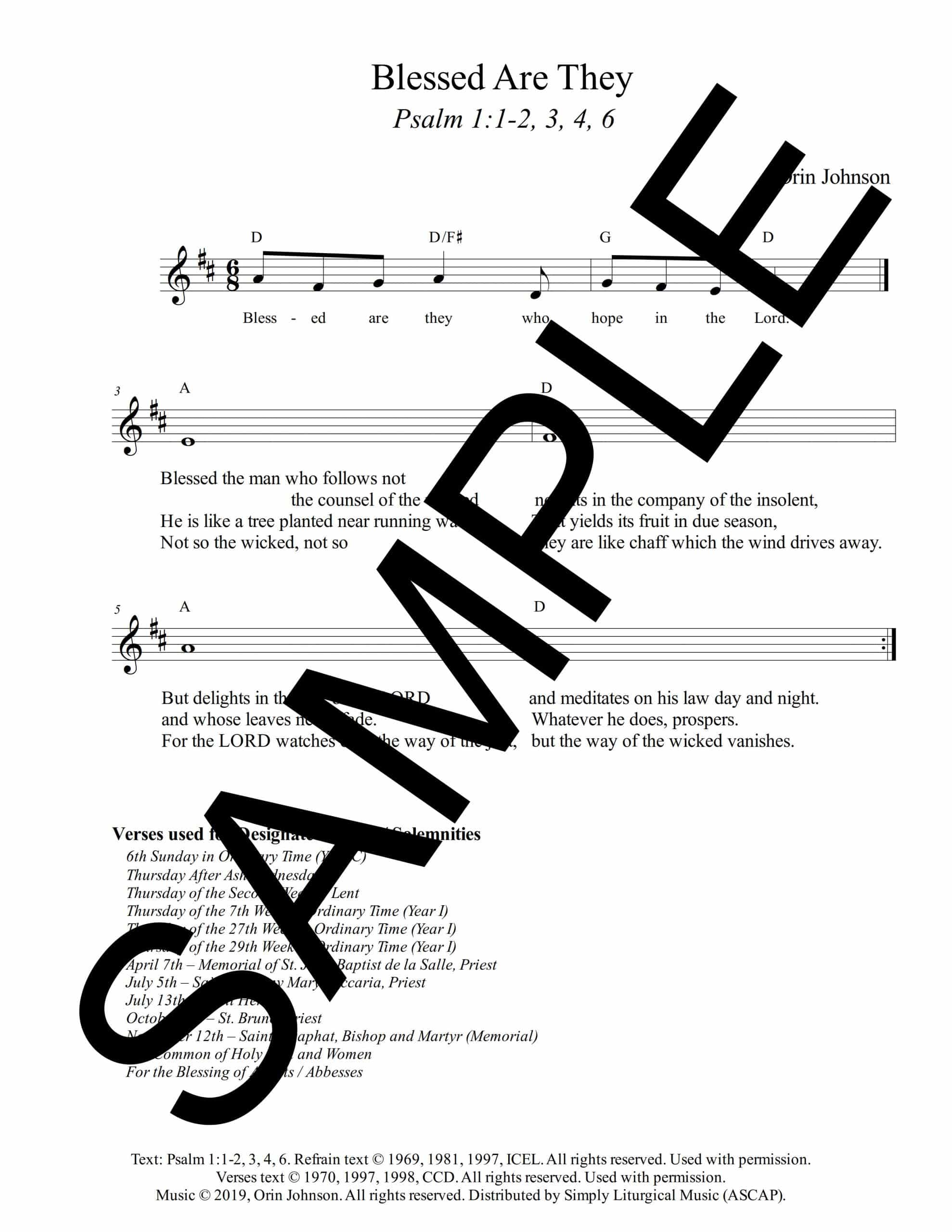 Psalm 1 Blessed Are They Johnson Sample Lead Sheet 1 scaled