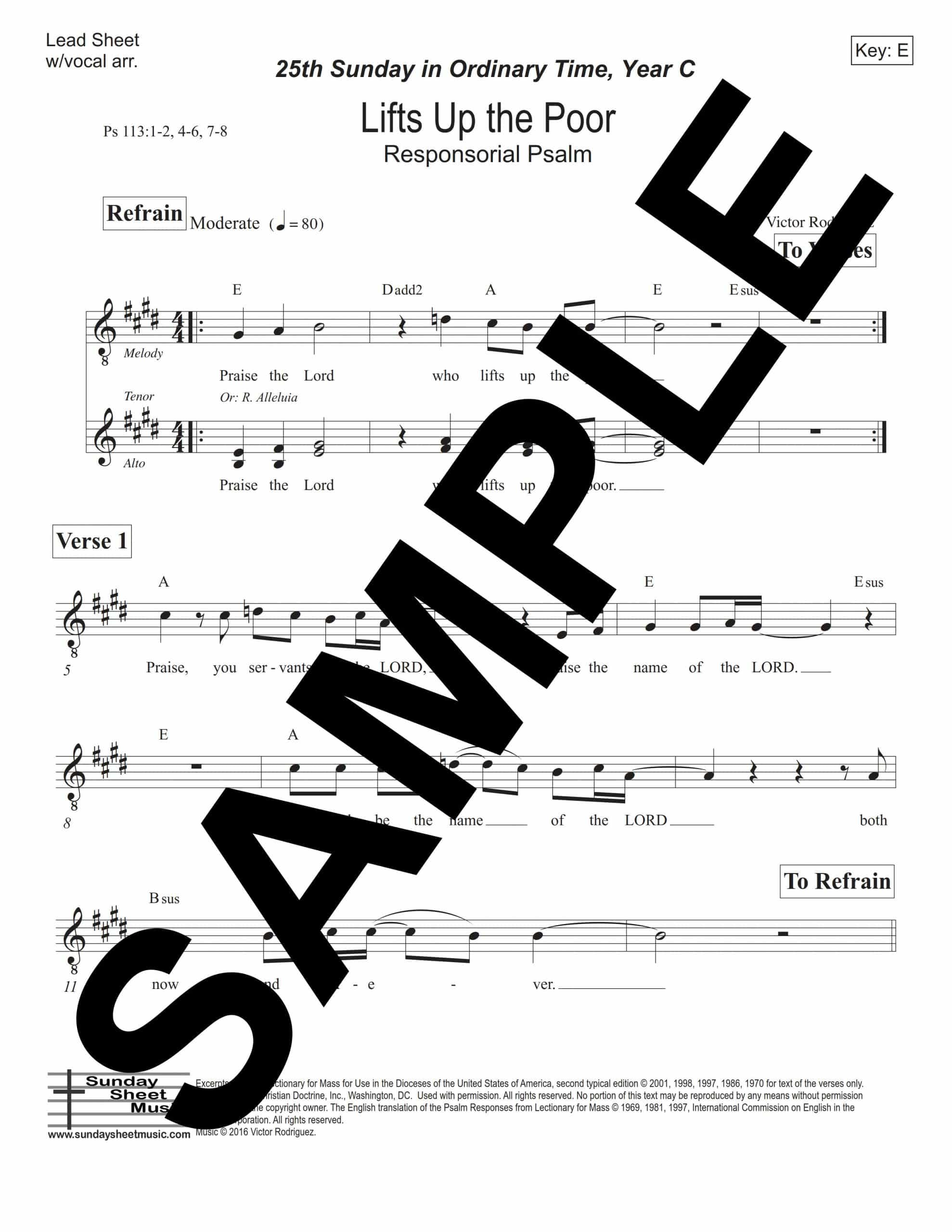 Psalm 113 Lifts Up the Poor Rodriguez Sample Lead Sheet w vocal arr scaled