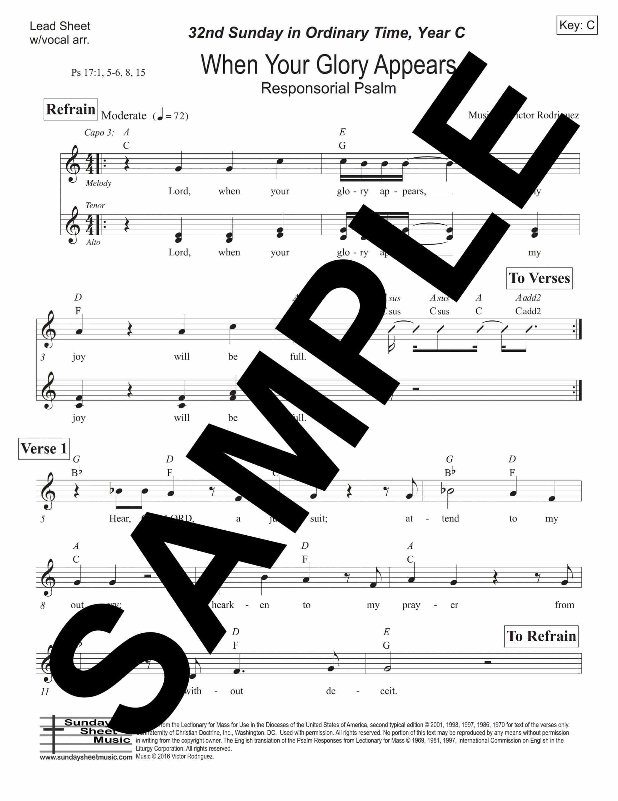 Psalm 17 When Your Glory Appears Rodriguez Sample Lead Sheet w vocal arr scaled