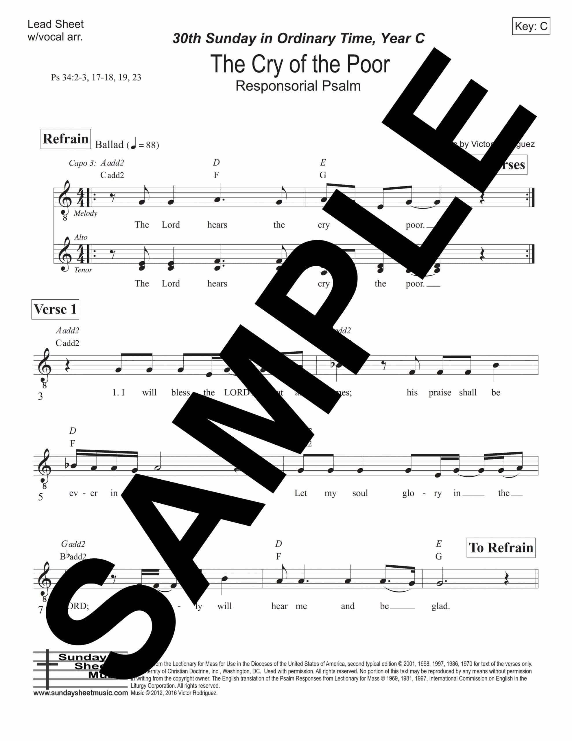 Psalm 34 The Cry of the Poor Rodriguez Sample Lead Sheet w vocal arr scaled