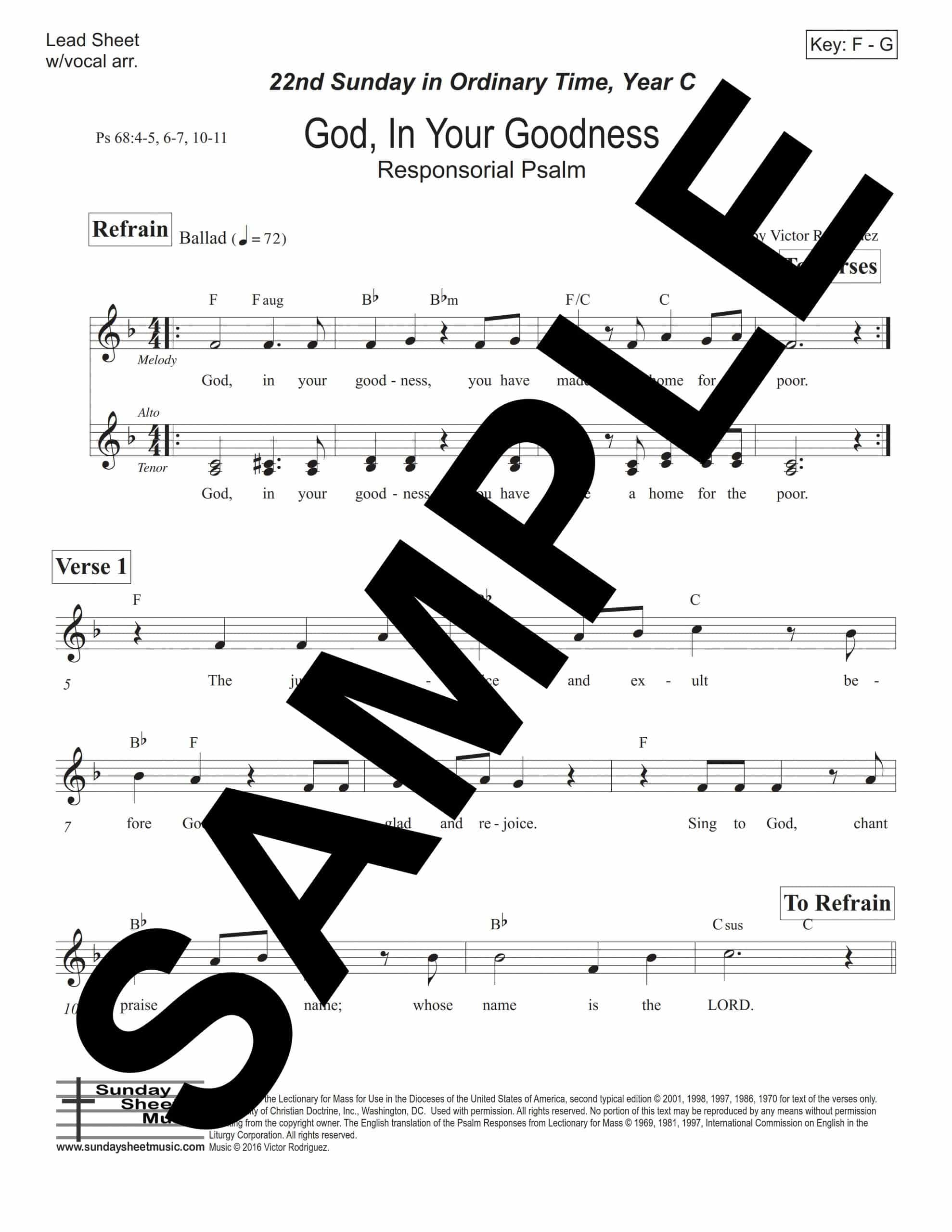 Psalm 68 God In Your Goodness Rodriguez Sample Lead Sheet scaled