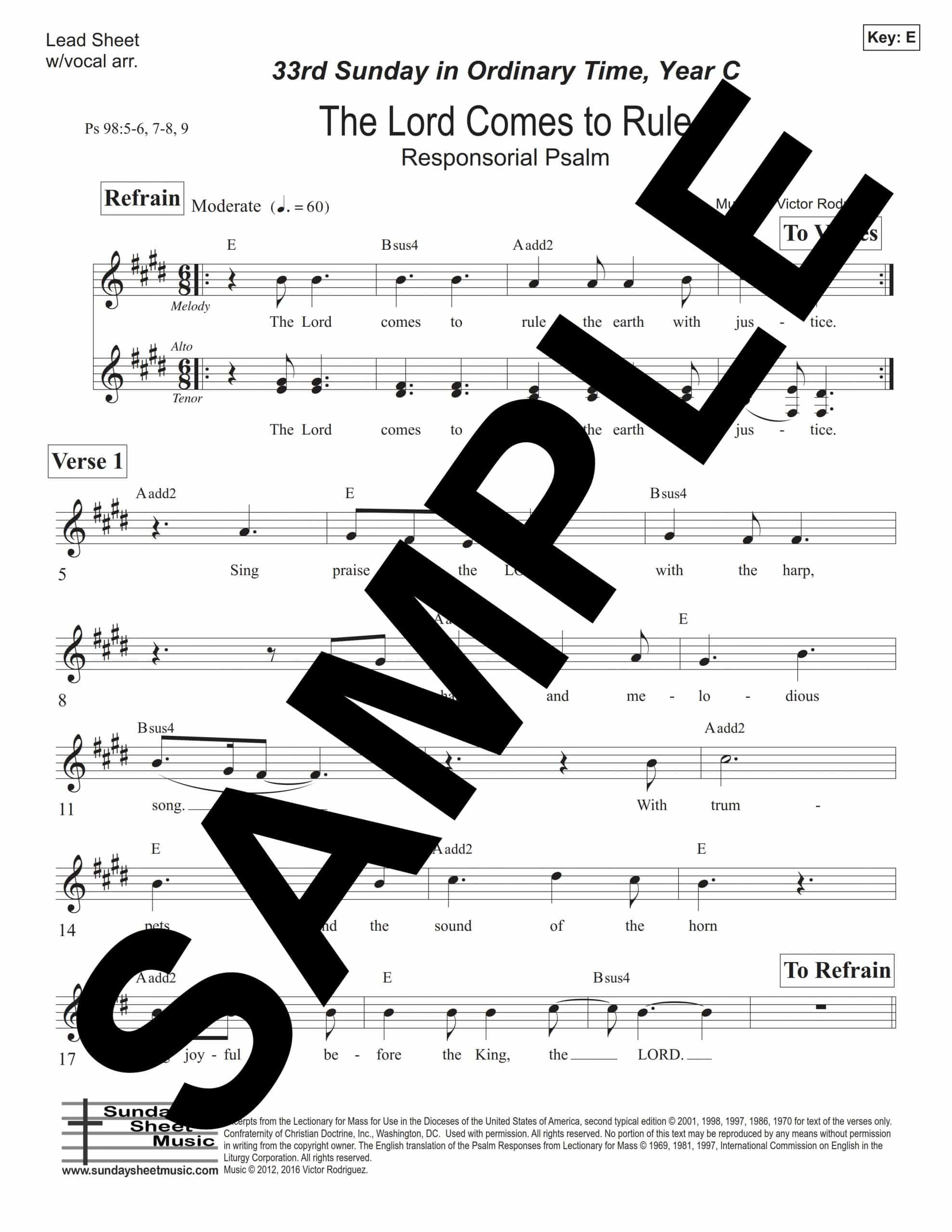 Psalm 98 The Lord Comes to Rule Rodriguez Sample Lead Sheet w vocal arr scaled