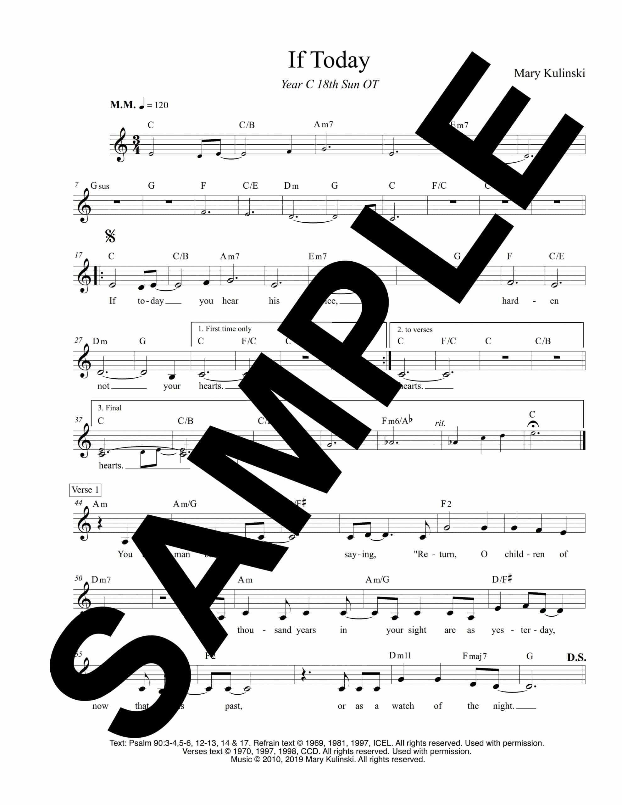 Psalm 90 If Today Kulinski Sample Lead Sheet scaled