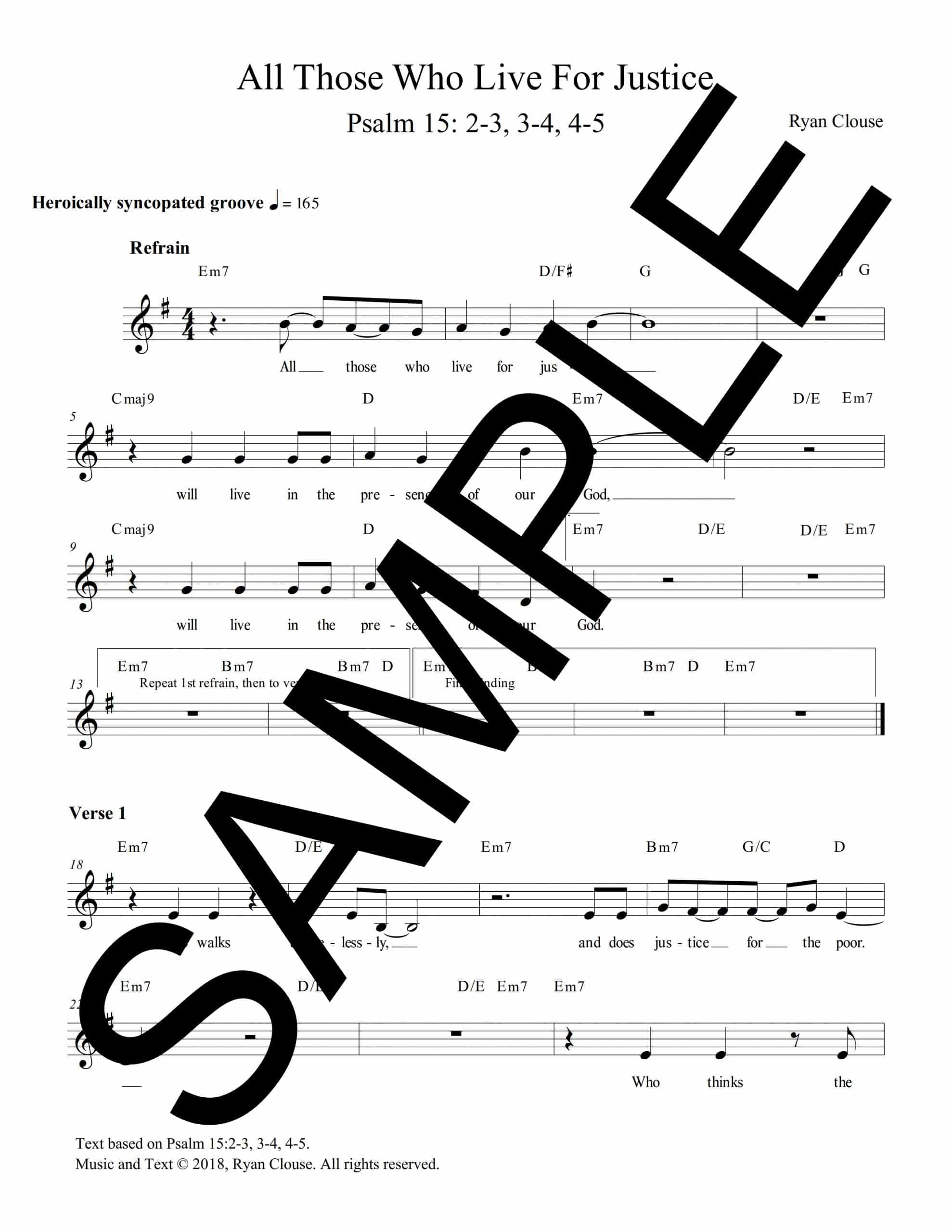 Psalm 15 All Those Who Work For Justice Clouse Sample Lead Sheet scaled