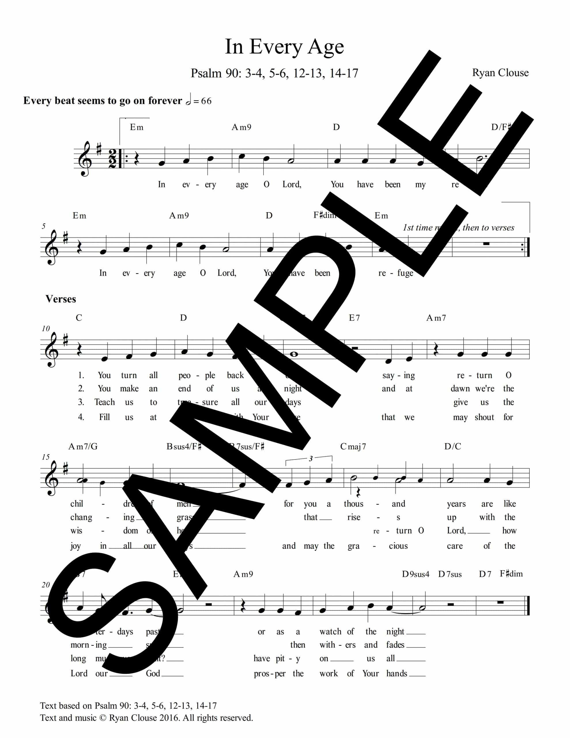Psalm 90 In Every Age Clouse Sample Lead Sheet scaled