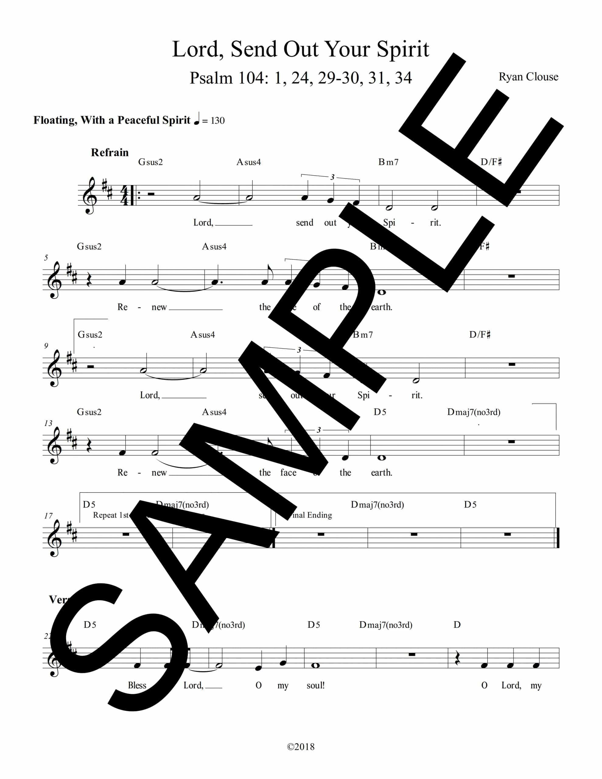 Psalm 104 Lord Send Out Your Spirit Clouse Sample Lead Sheet scaled