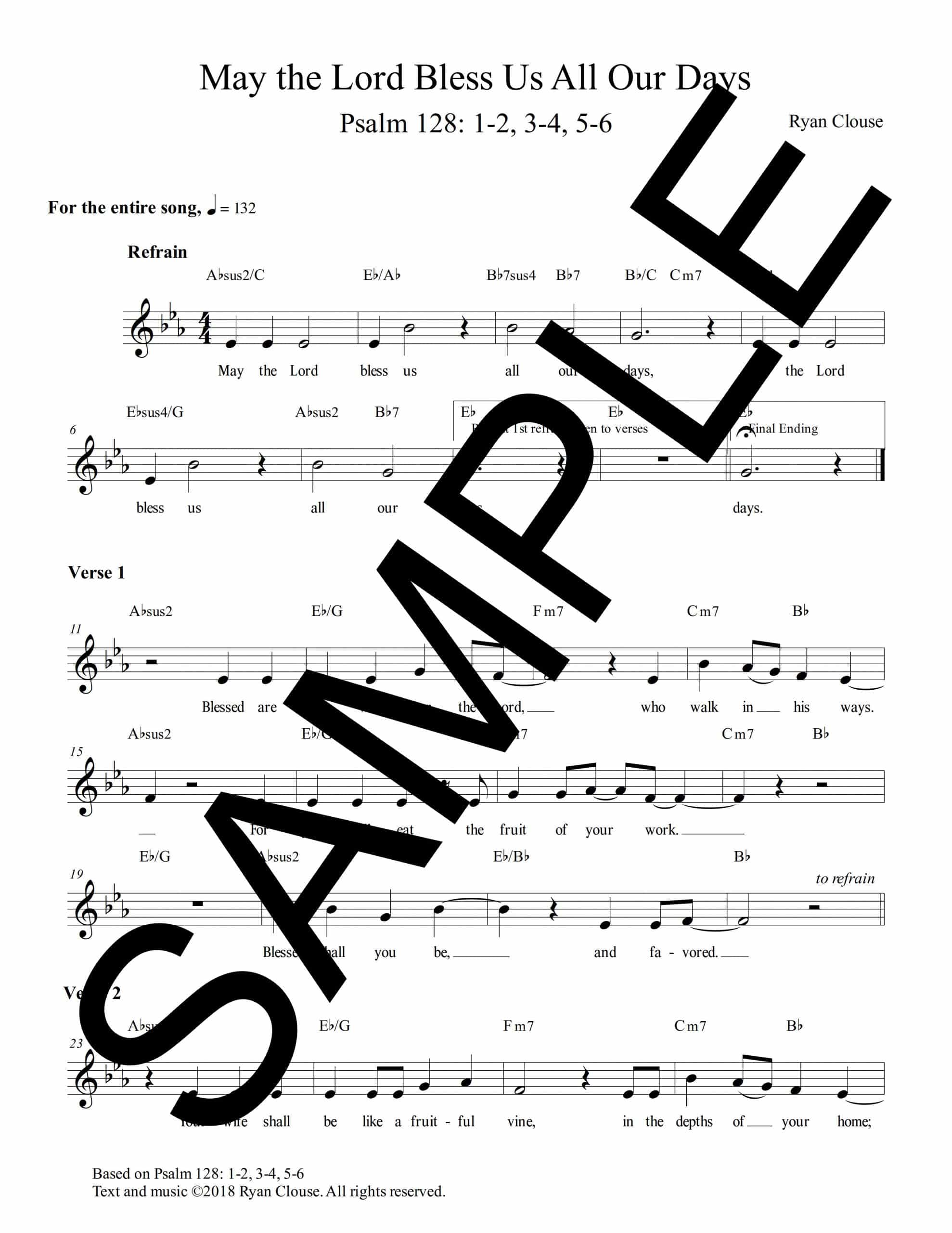 Psalm 128 May the Lord Bless Us Clouse Sample Lead Sheet scaled