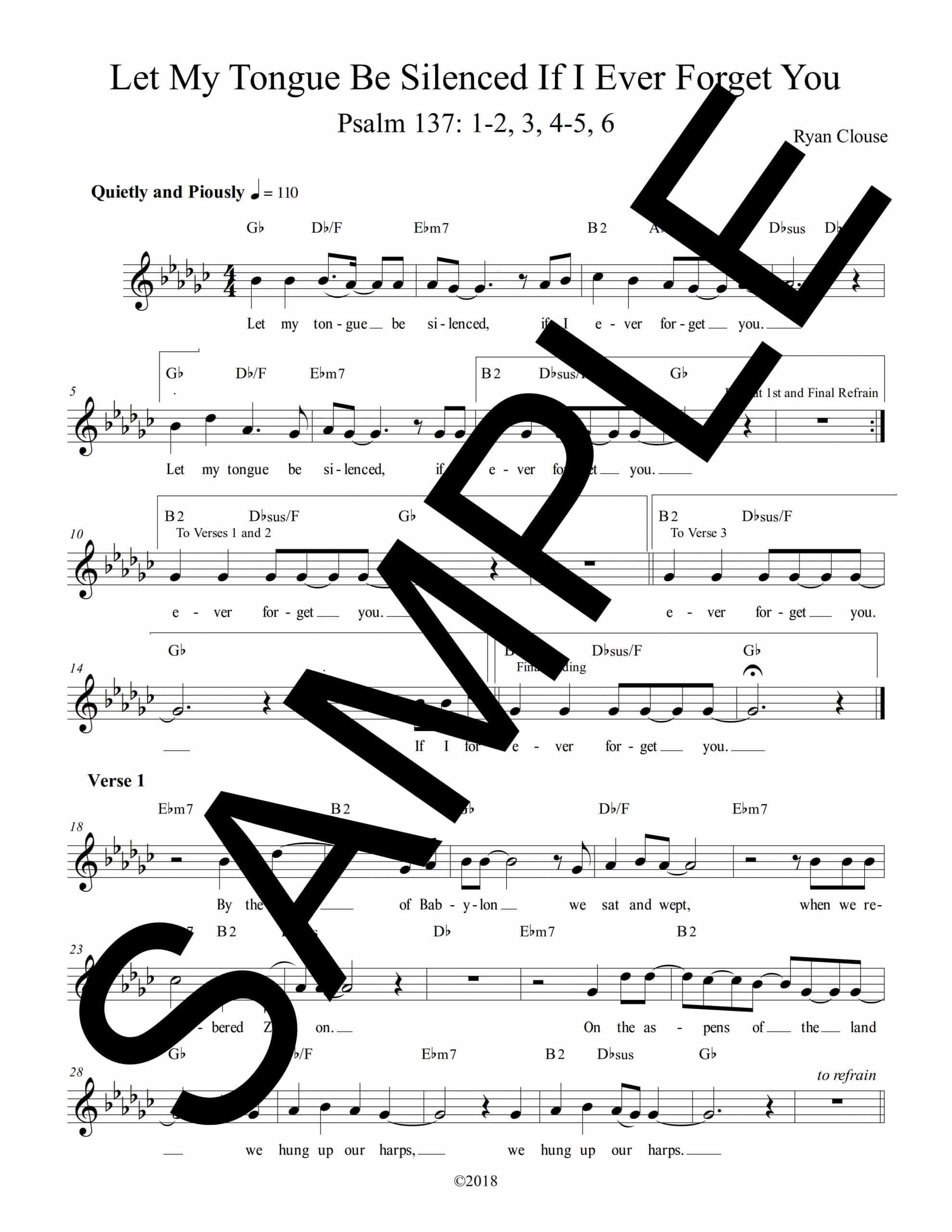 Psalm 137 Let My Tongue Be Silenced Clouse Sample Lead Sheet scaled