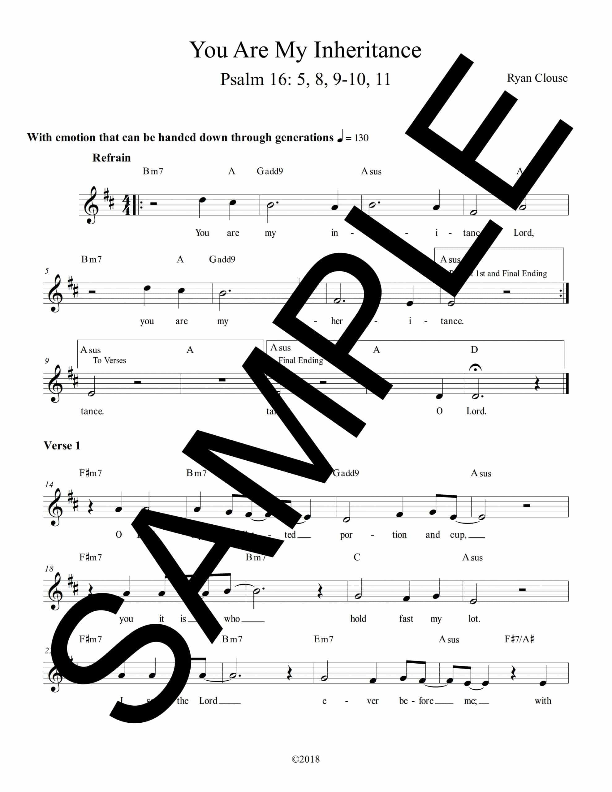 Psalm 16 You Are My Inheritance Clouse Sample Lead Sheet scaled