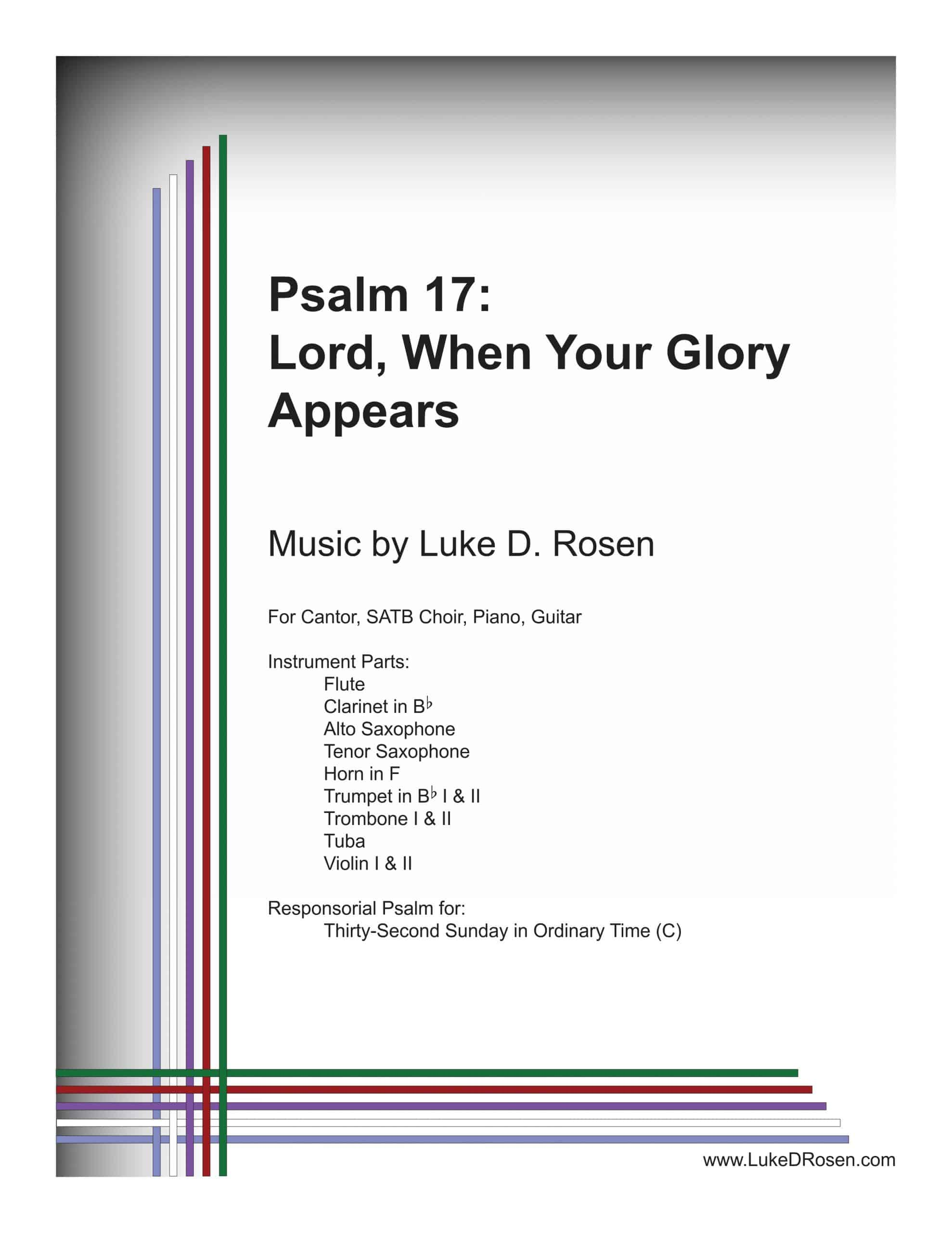 Psalm 17 Lord When Your Glory Appears ROSEN Sample Musicians Parts scaled