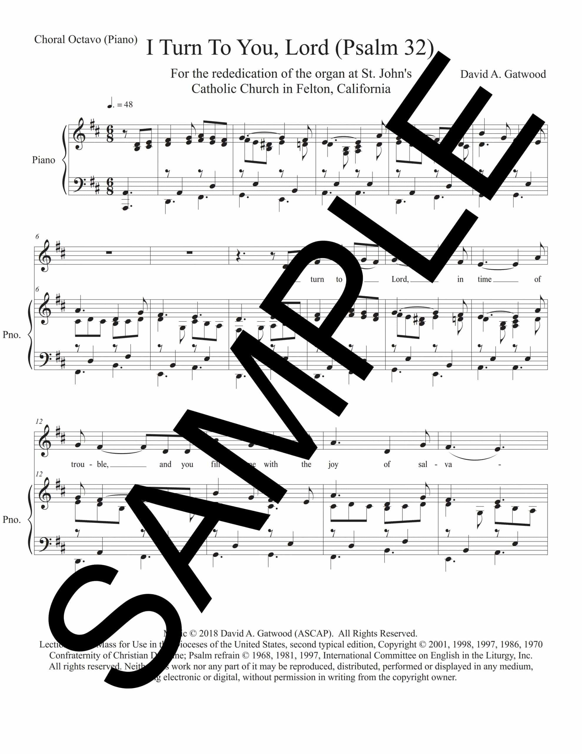 I Turn To You Lord Psalm 32 Sample Choral Octavo Piano scaled
