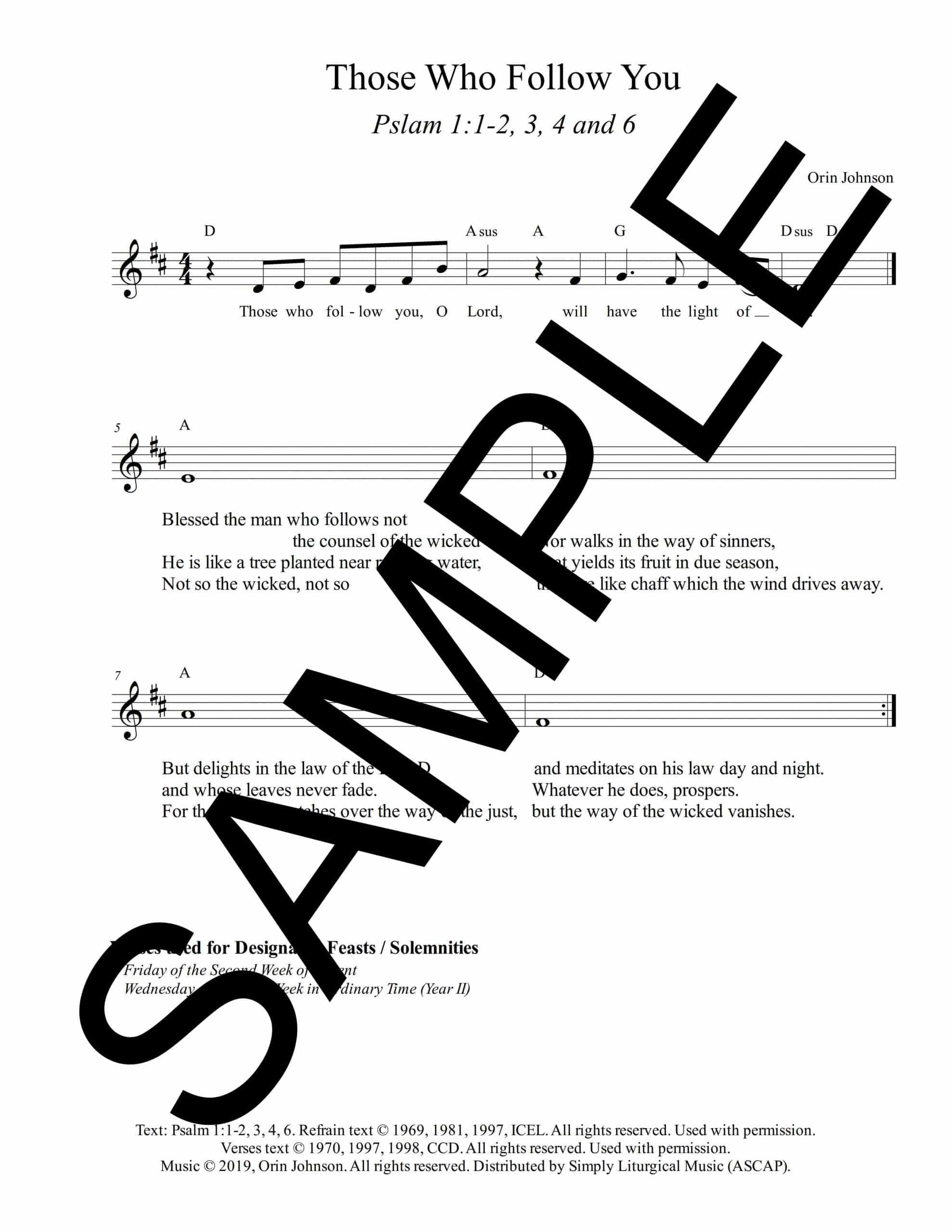 Psalm 1 Those Who Follow You Johnson Sample Lead Sheet scaled