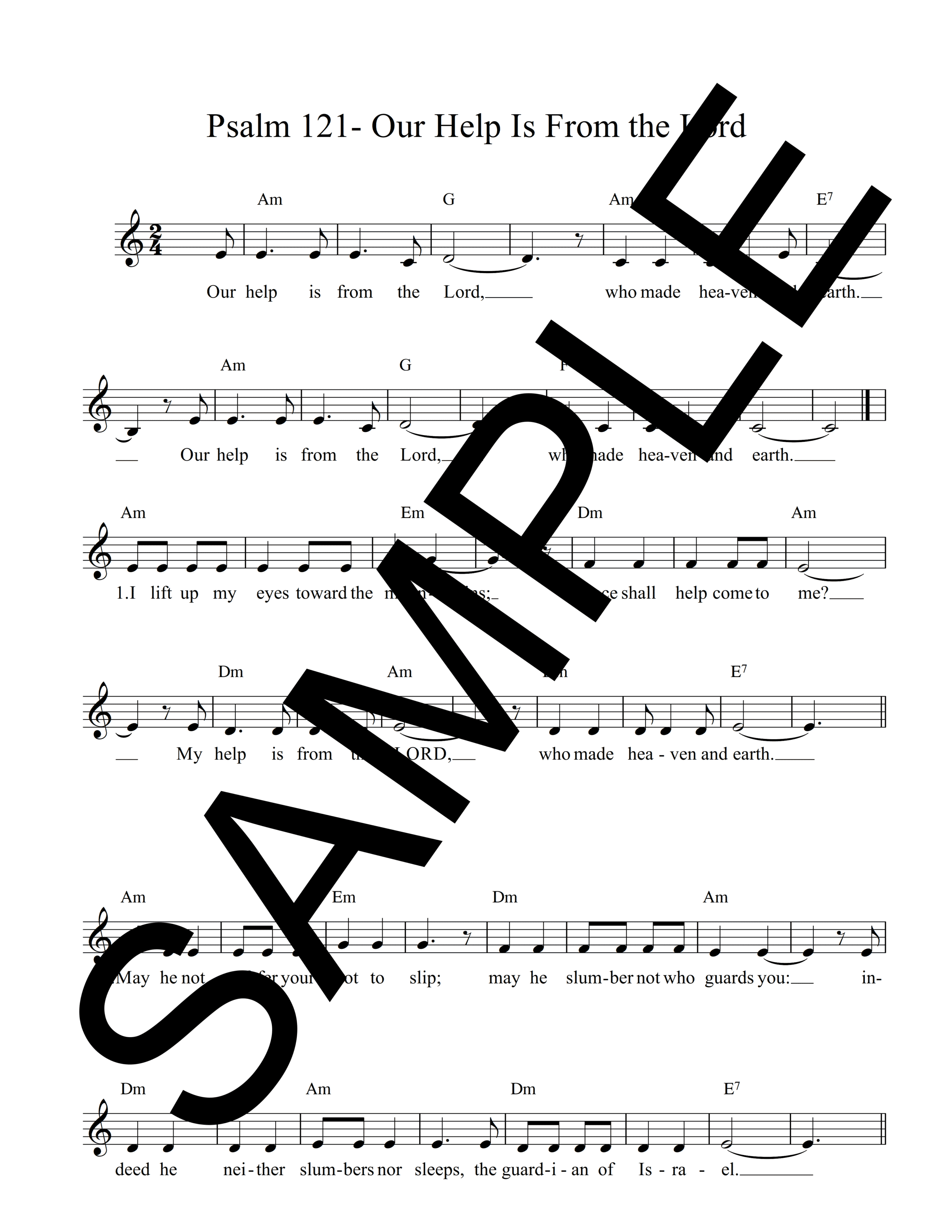 Psalm 121 Our Help Is From the Lord Giorgis Sample Lead Sheet