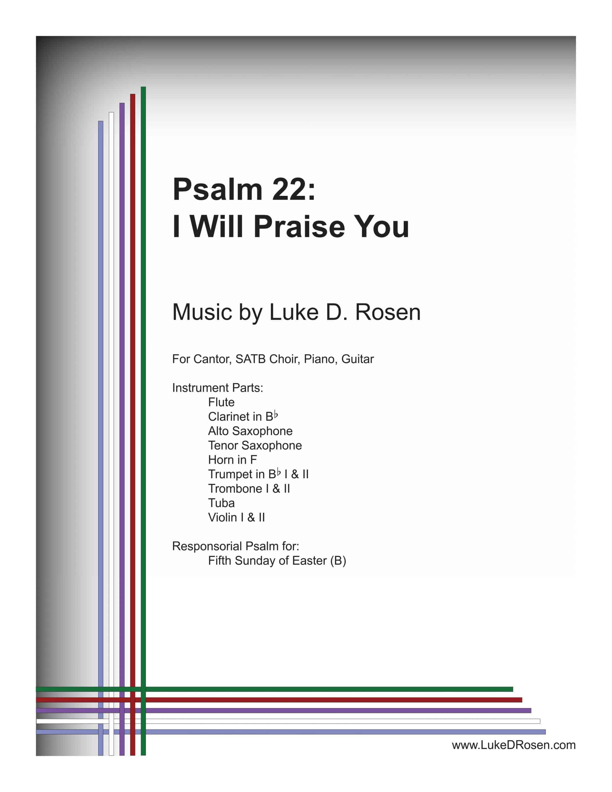 Psalm 22 I Will Praise You ROSEN Sample Musicians Parts scaled