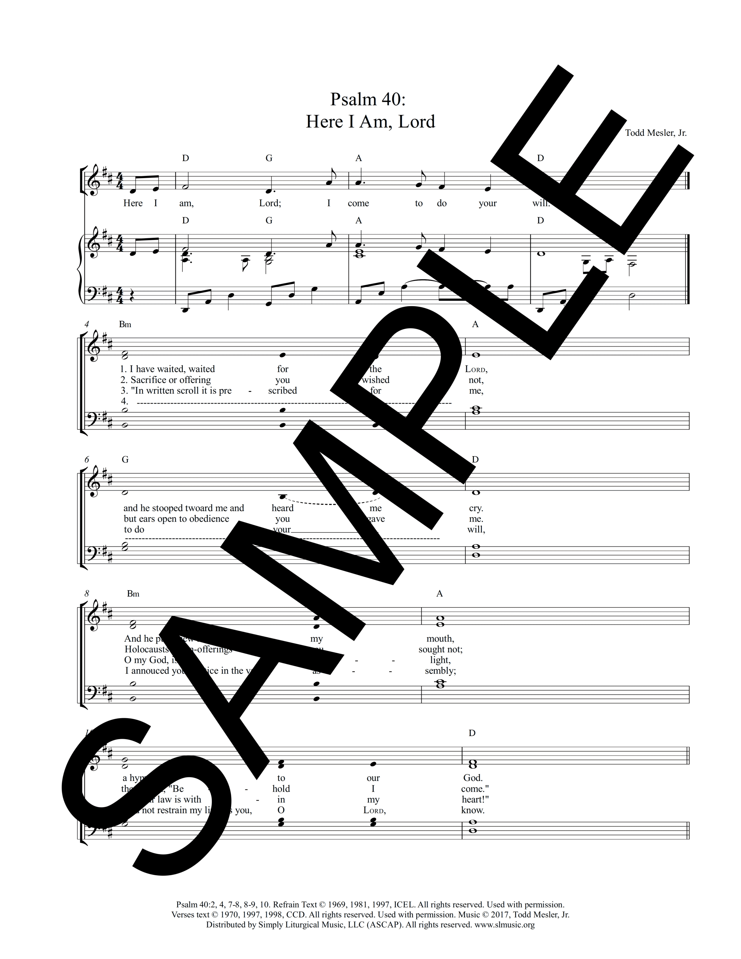 Psalm 40 Here I Am Lord Mesler Sample Lead Sheet