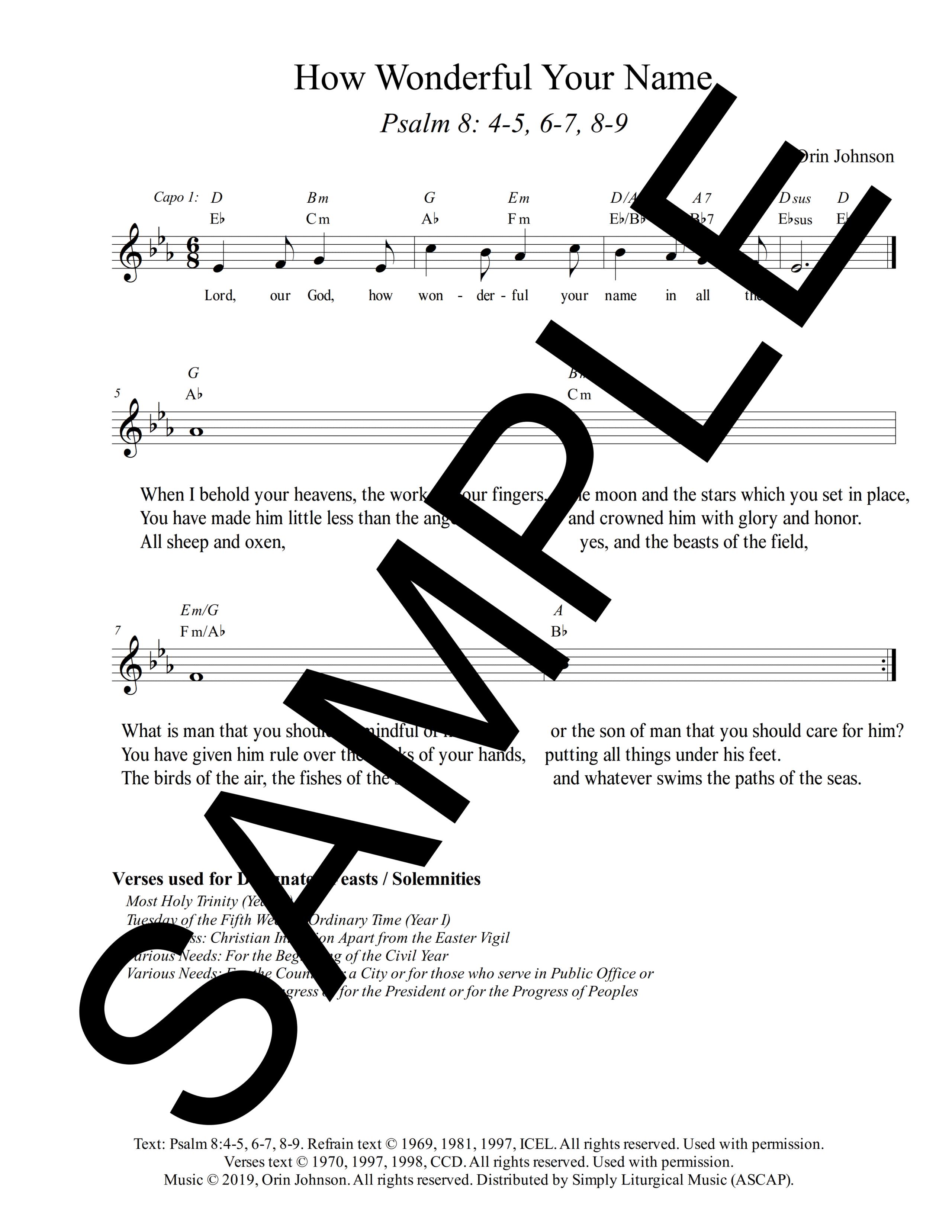 Psalm 8 How Wonderful Your Name Johnson Sample Lead Sheet