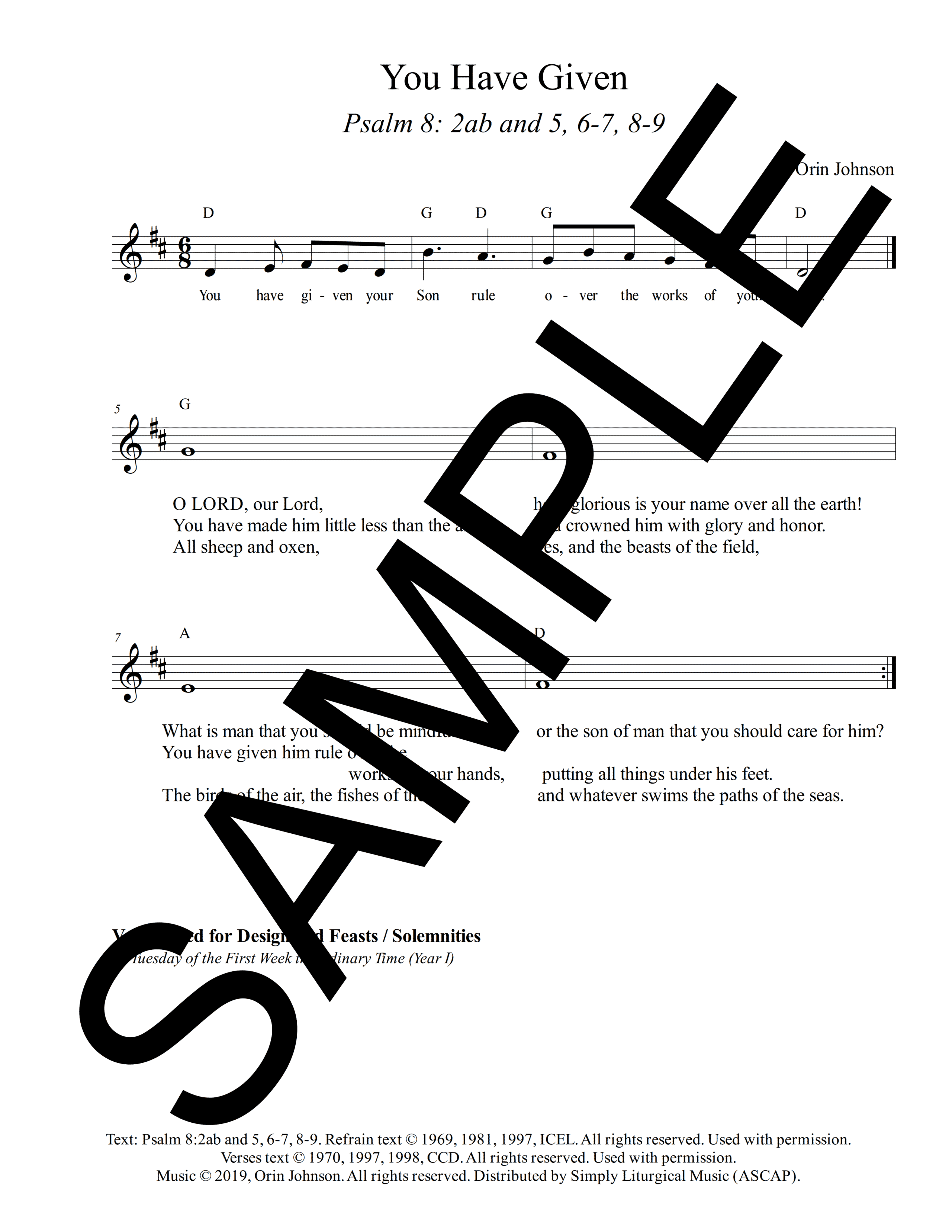Psalm 8 You Have Given Johnson Sample Lead Sheet