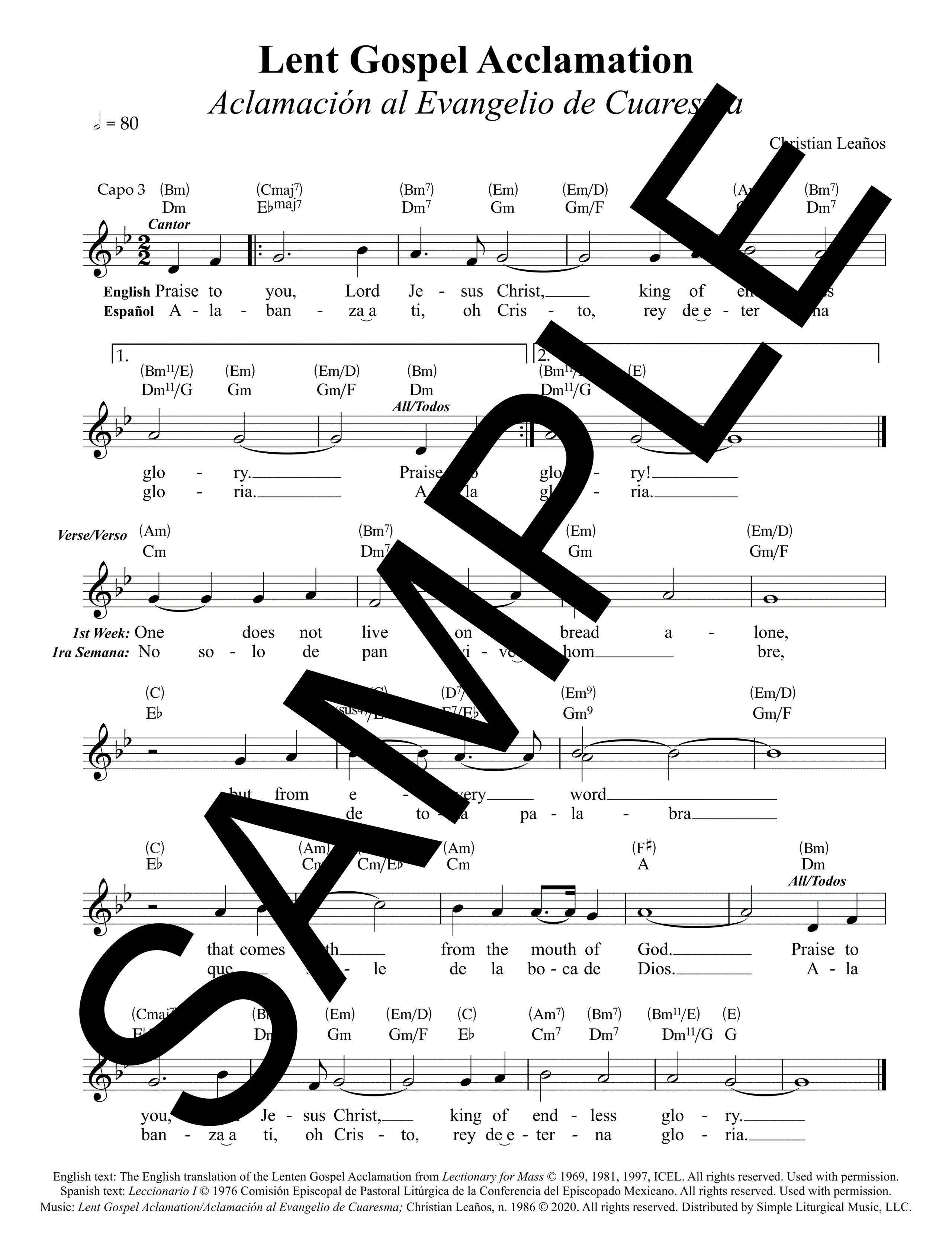 Lent Gospel Aclamation Aclamación al Evangelio de Cuaresma Leaños Sample Lead Sheet 1 png