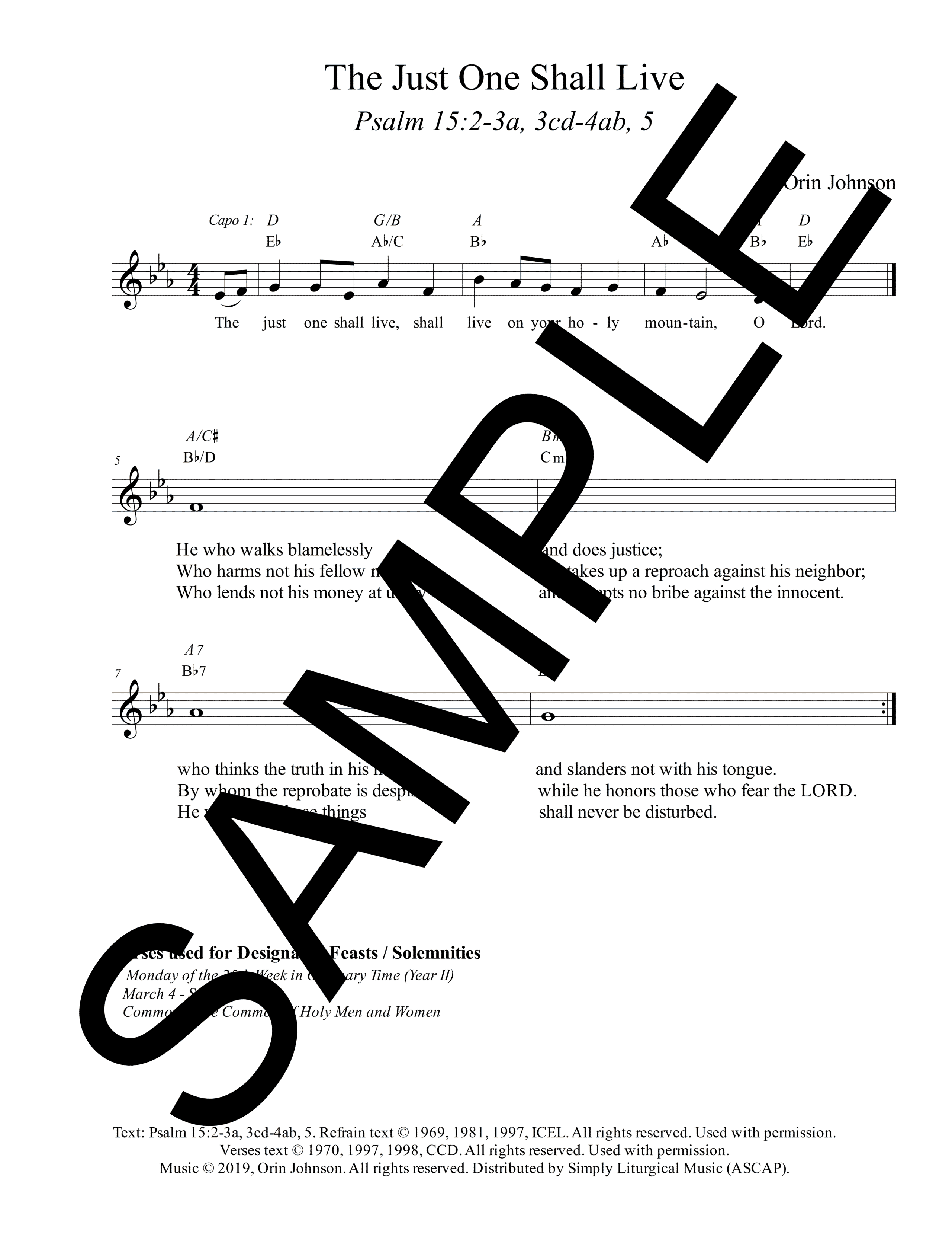 Psalm 15 The Just One Shall Live Johnson Sample Lead Sheet 1 png