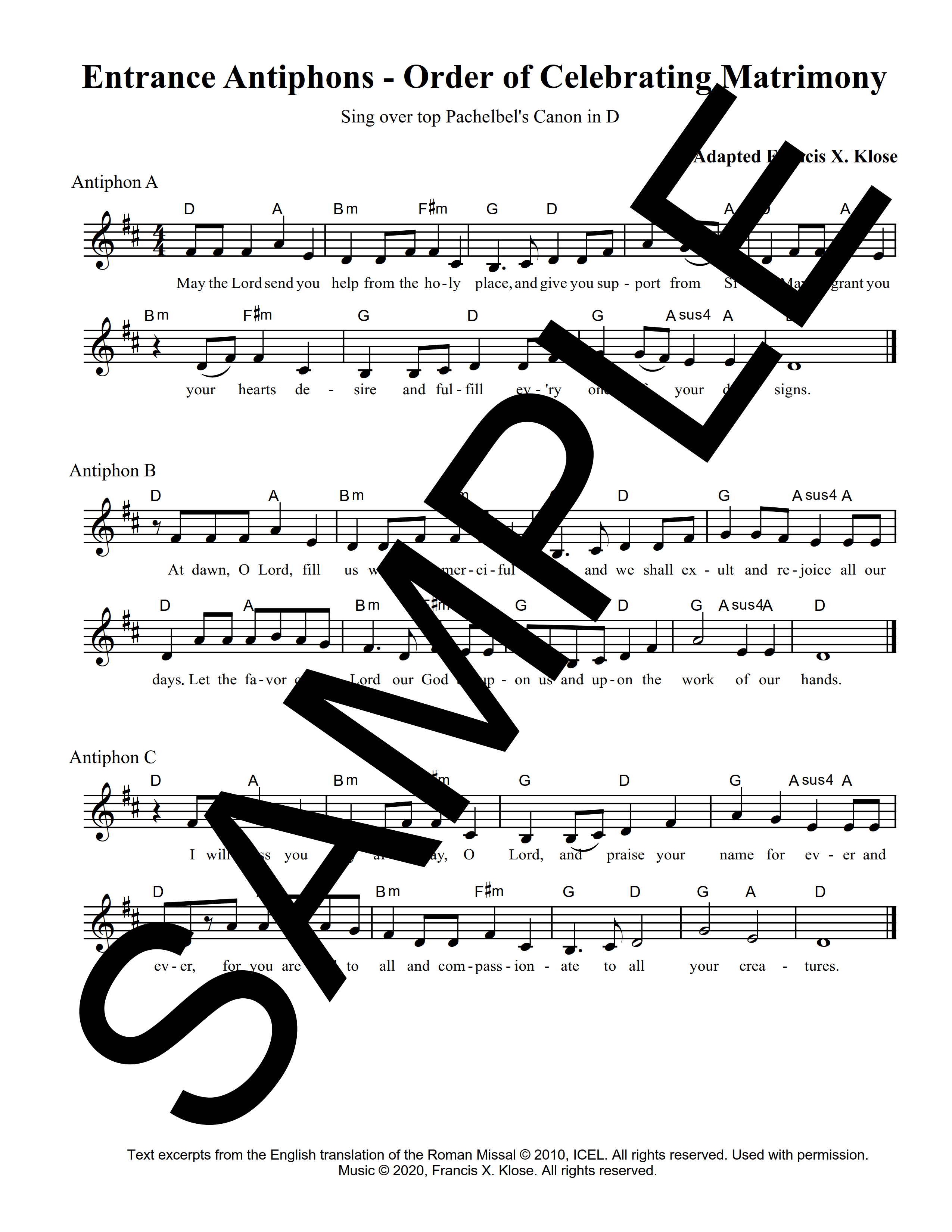 Entrance Antiphons Order of Celebrating Matrimony Klose Sample Lead Sheet 1 png