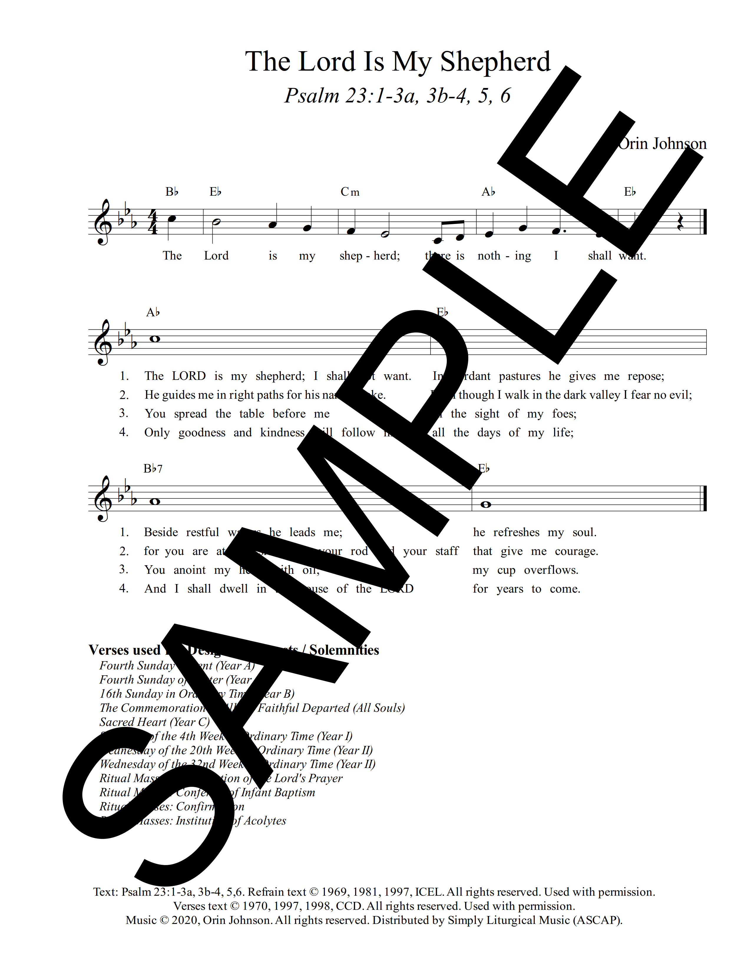 Psalm 23 The Lord Is My Shepherd Johnson Sample Lead Sheet 1 png